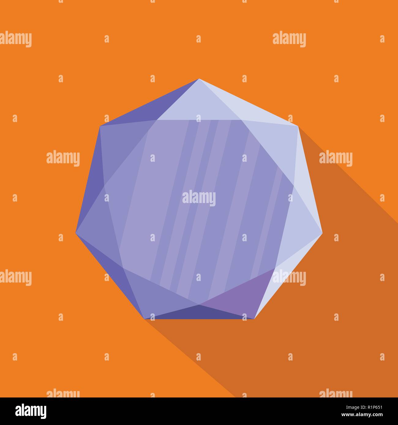 Pentagonal precious stone icon. Flat illustration of pentagonal precious stone vector icon for web. - Stock Image