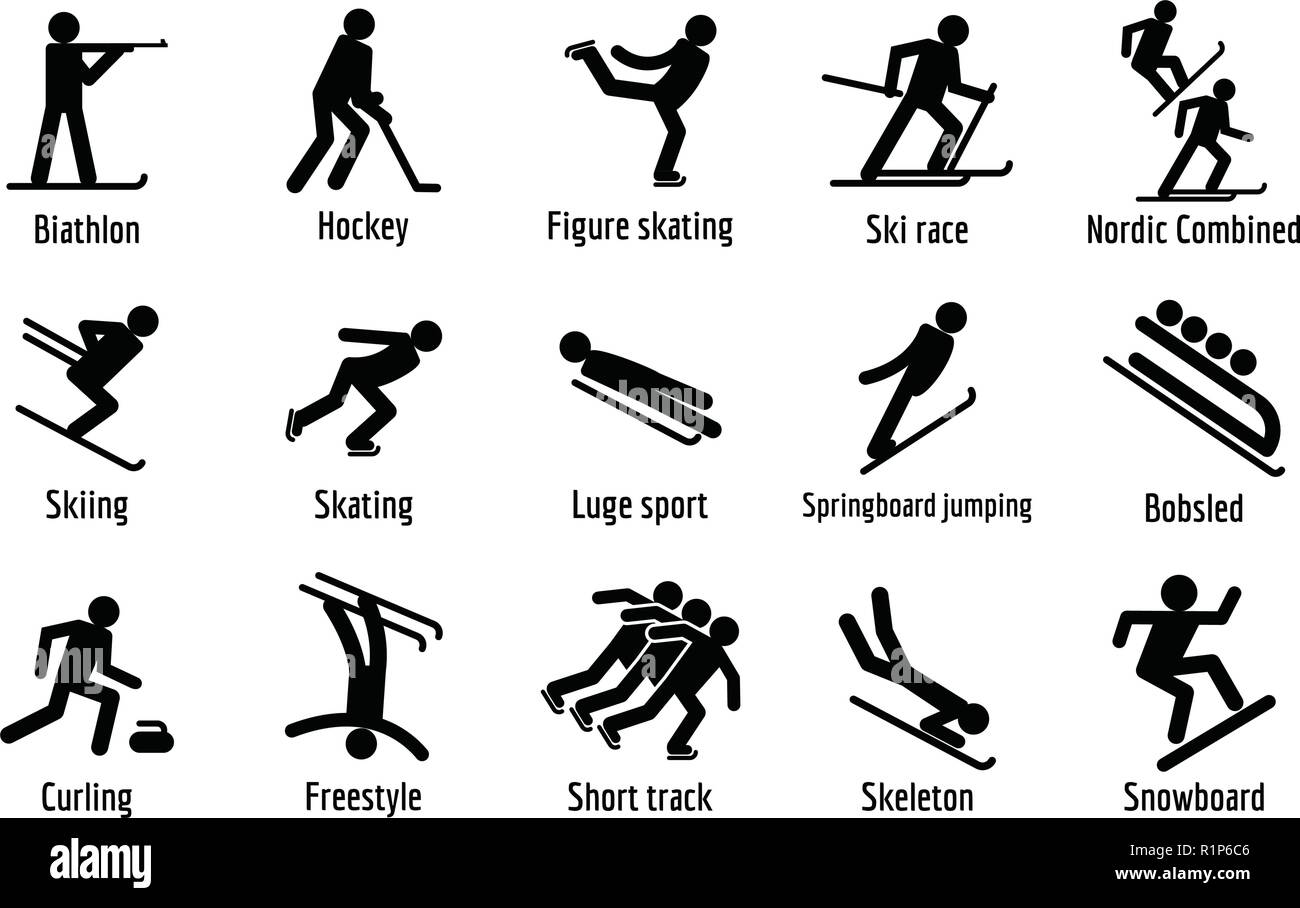 Winter sport symbols icons set. Simple illustration of 15 winter sport symbols vector icons for web Stock Vector