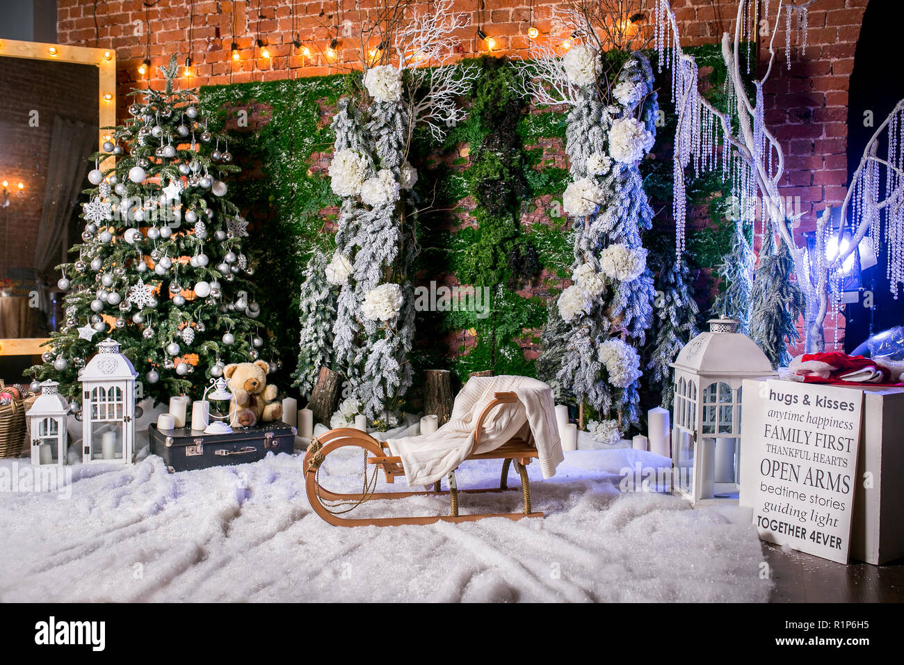 Icicles For Christmas Trees.Wonderful Christmas Location With Imitation Of Snow Icicles