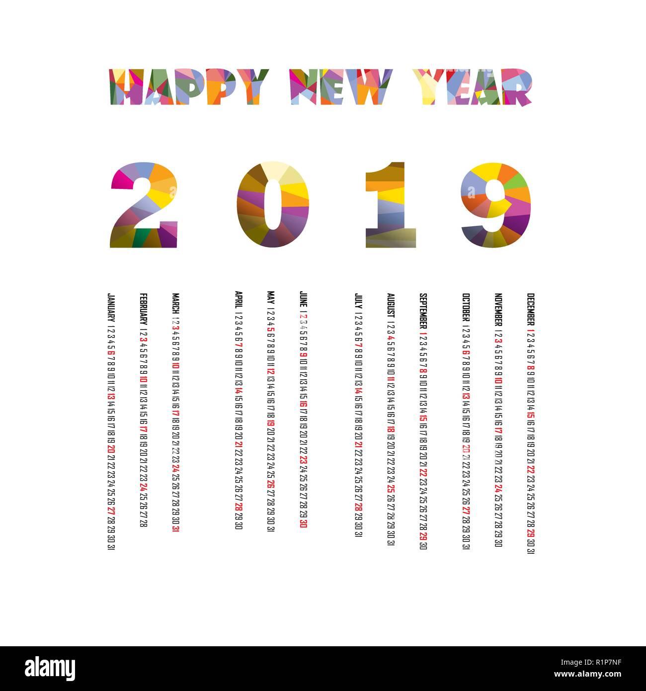 2019 Calendar Template Calendar 2019 Set Of 12 Months Yearly