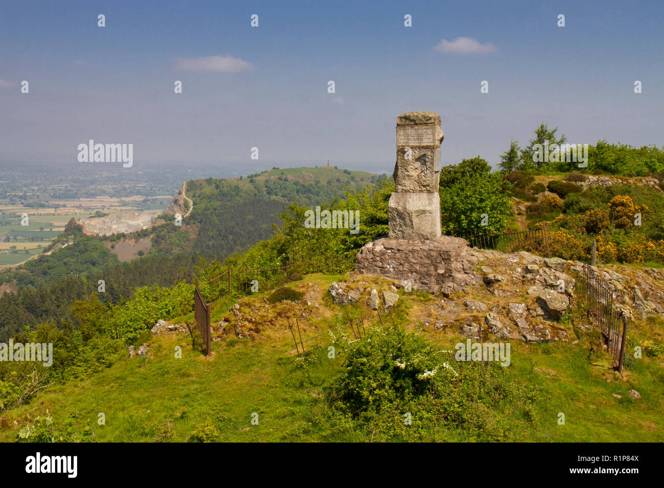 Monument to the Romany Chell Uriah Burton. On Moel y Golfa, Breidden Hills, Powys, Wales. May - Stock Image
