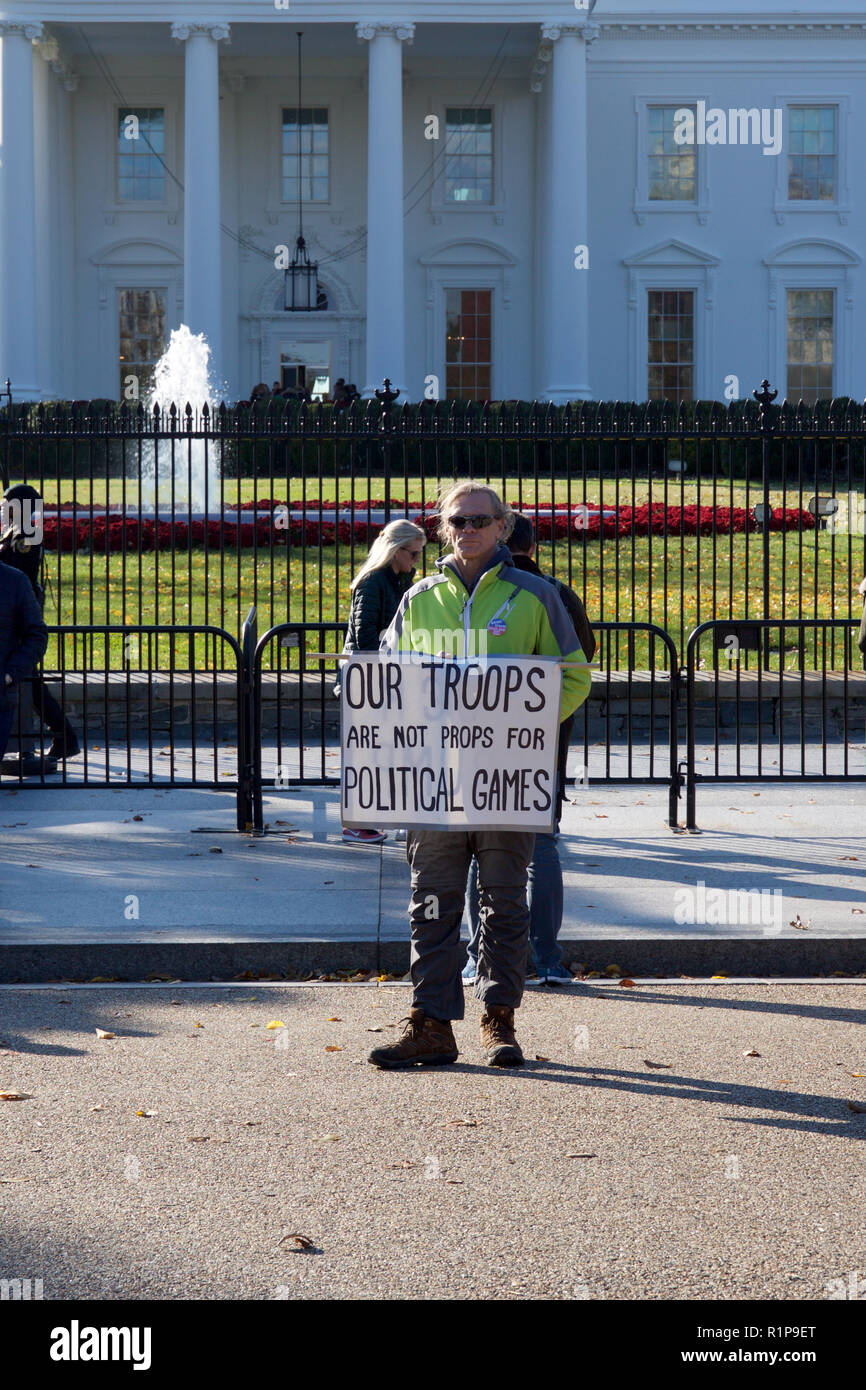 Anti Trump demonstration outside the Whitehouse just after the midterm elections. - Stock Image