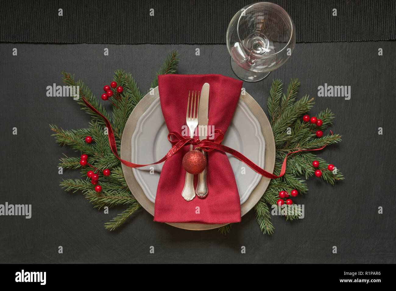 Christmas Table Setting With Red Decor On Black Top View Xmas Party Stock Photo Alamy