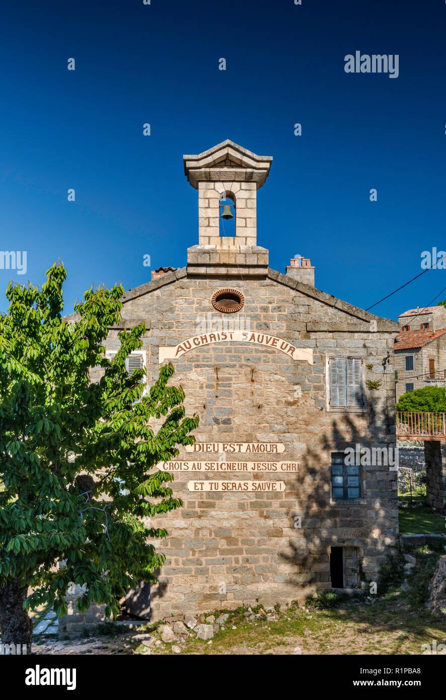 Protestant church, 1905, now closed, in Aullene, Alta Rocca microregion, Corse-du-Sud, Corsica, France - Stock Image