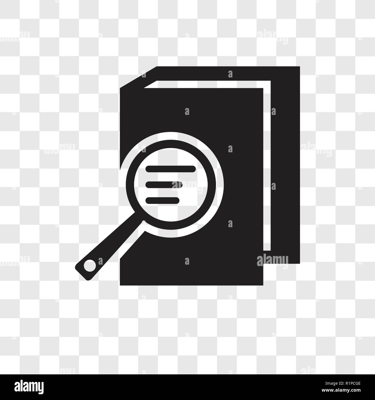 Book and magnifying vector icon isolated on transparent background, Book and magnifying transparency logo concept Stock Vector
