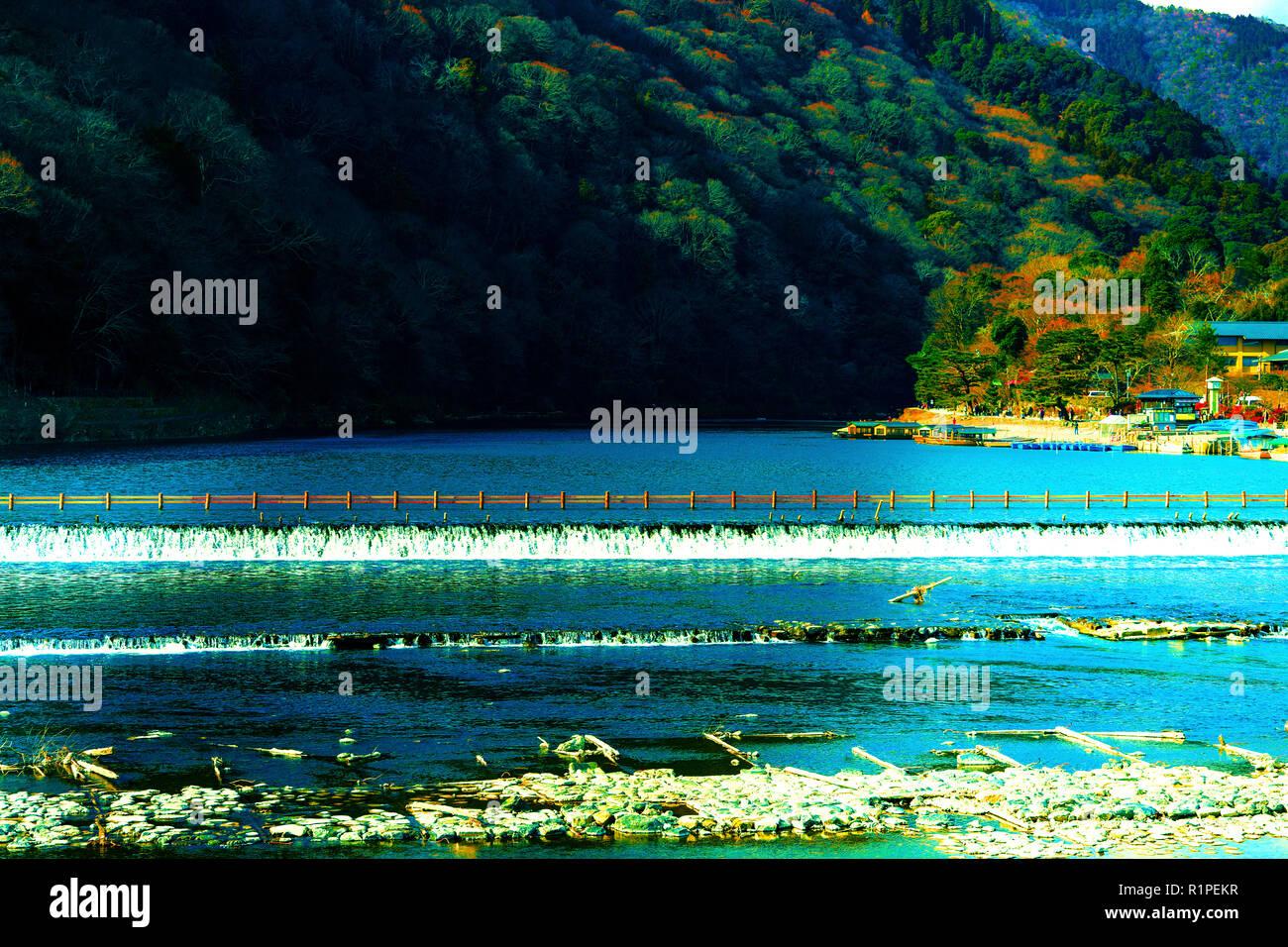 katsura River in Kyoto Japan at Arashiyama district, Kyoto, Japan. - Stock Image