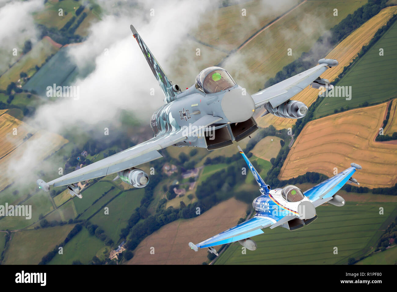 German luftwaffe Eurofighter Typhoon a twin-engine, canard–delta wing, multirole fighter. The Typhoon was designed originally as an air superiority fi - Stock Image