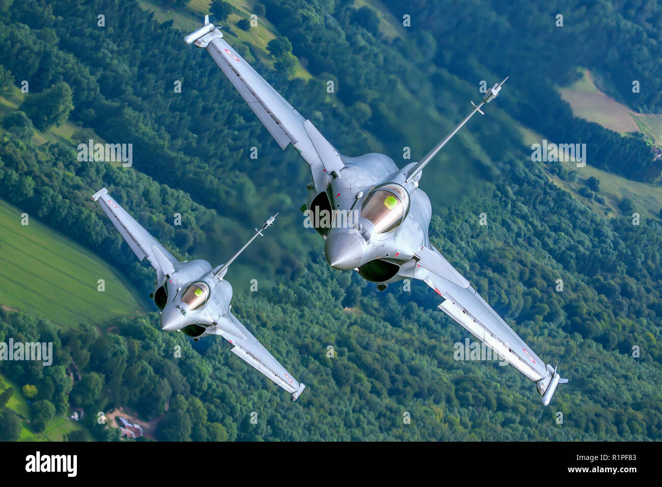 Dassault Rafale is a French twin-engine, canard delta wing, multirole fighter aircraft designed and built by Dassault Aviation. Equipped with a wide r - Stock Image