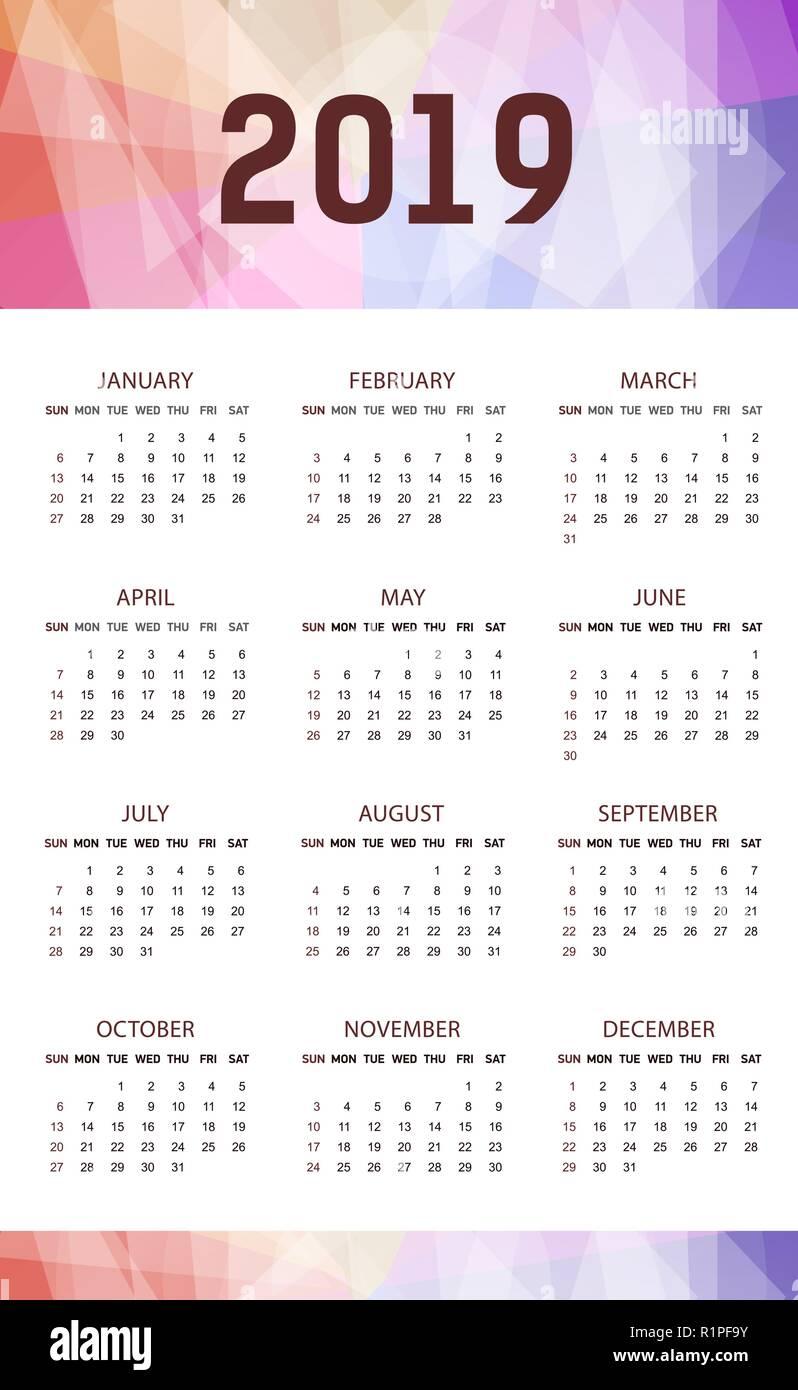 Calendario 2019 Con Numero Week.Vertical Modern Calendar Template For 2019 Years Week