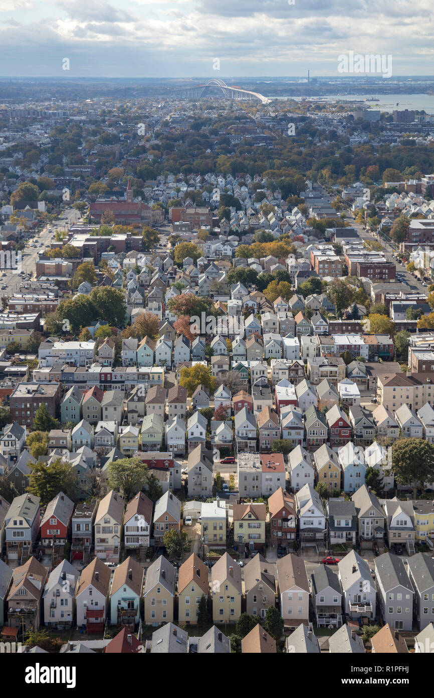helicopter aerial view of street grid of Bayonne city, New Jersey, USA Stock Photo