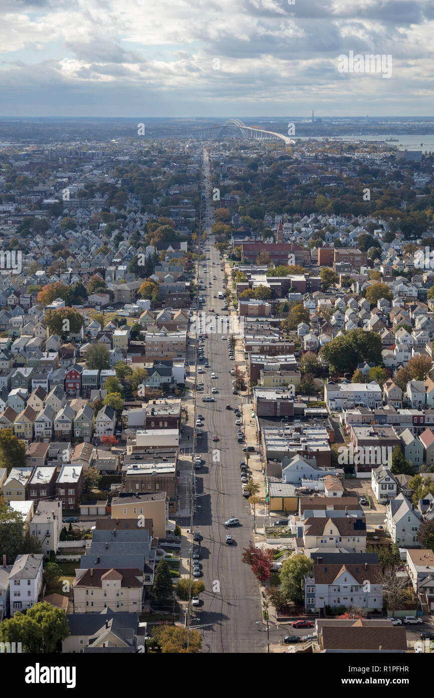 helicopter aerial view of street grid of Bayonne city, New Jersey, USA - Stock Image