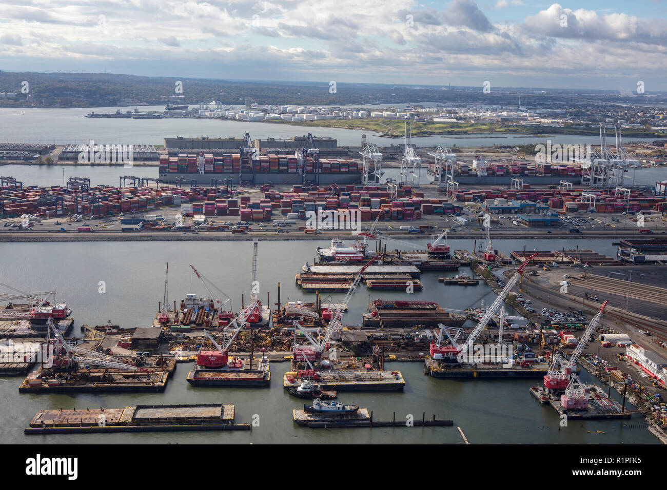 helicopter aerial view of GCT Bayonne container terminal and surrounding piers, Bayonne, Jersey City, New Jersey, USA Stock Photo