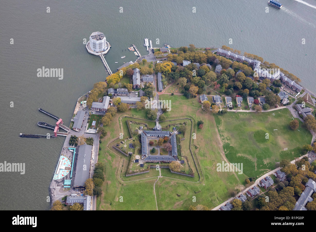 helicopter aerial view of Fort Jay, a coastal star fort and the name of a former US Army post on Governors Island, New York City Harbor, USA - Stock Image