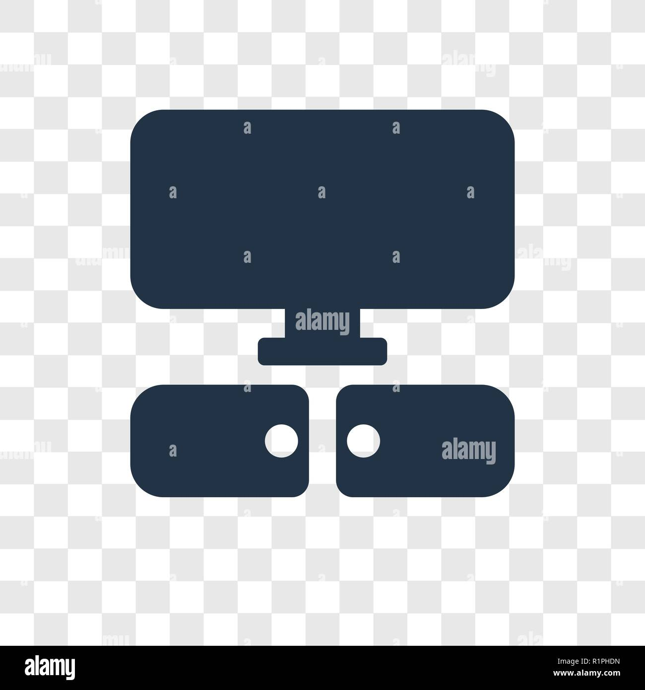 Television vector icon isolated on transparent background, Television transparency logo concept - Stock Image