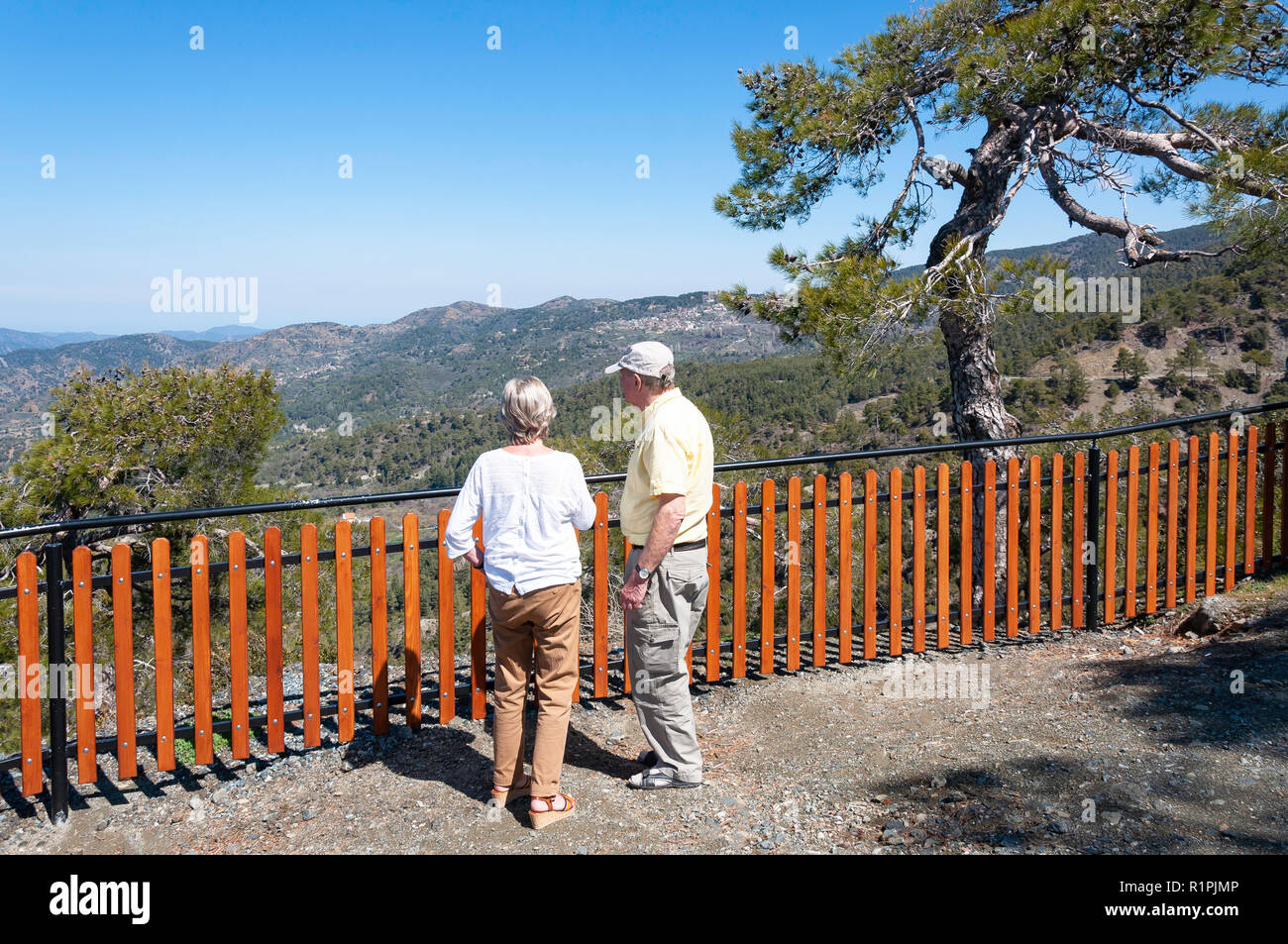 Older couple at Kokkini lookout, Troodos Mountains, Limassol District, Republic of Cyprus - Stock Image