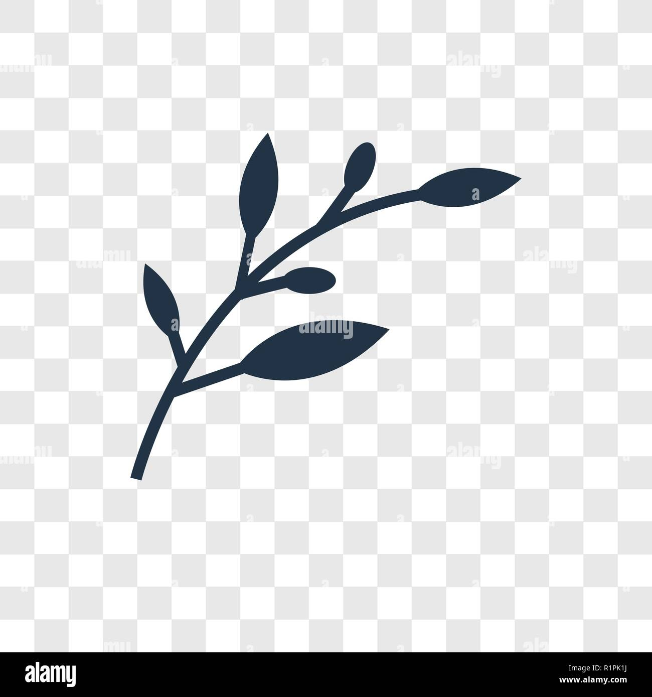 Olive Branch vector icon isolated on transparent background, Olive Branch transparency logo concept - Stock Image