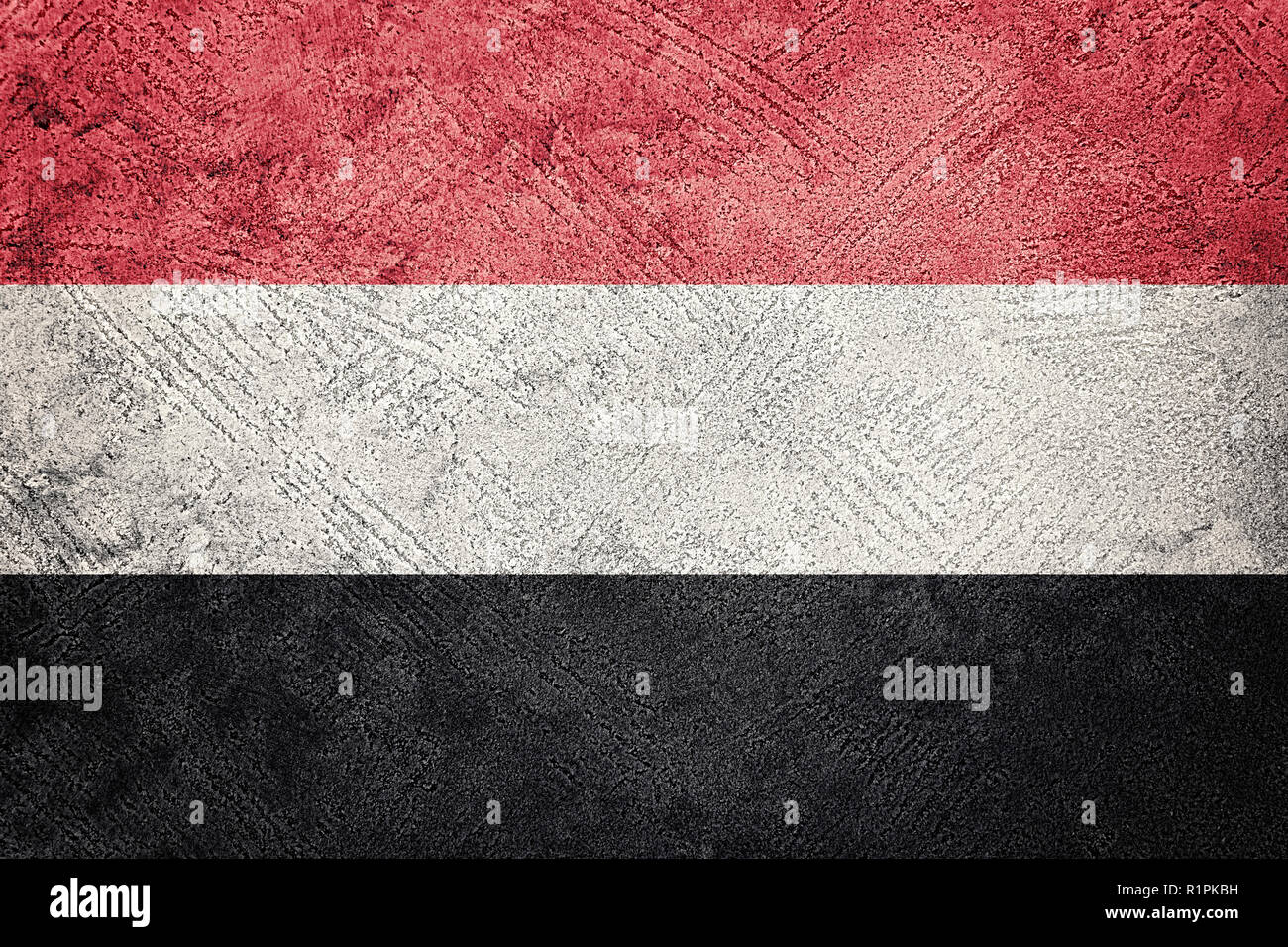Grunge Yemen flag. Yemen flag with grunge texture. Stock Photo