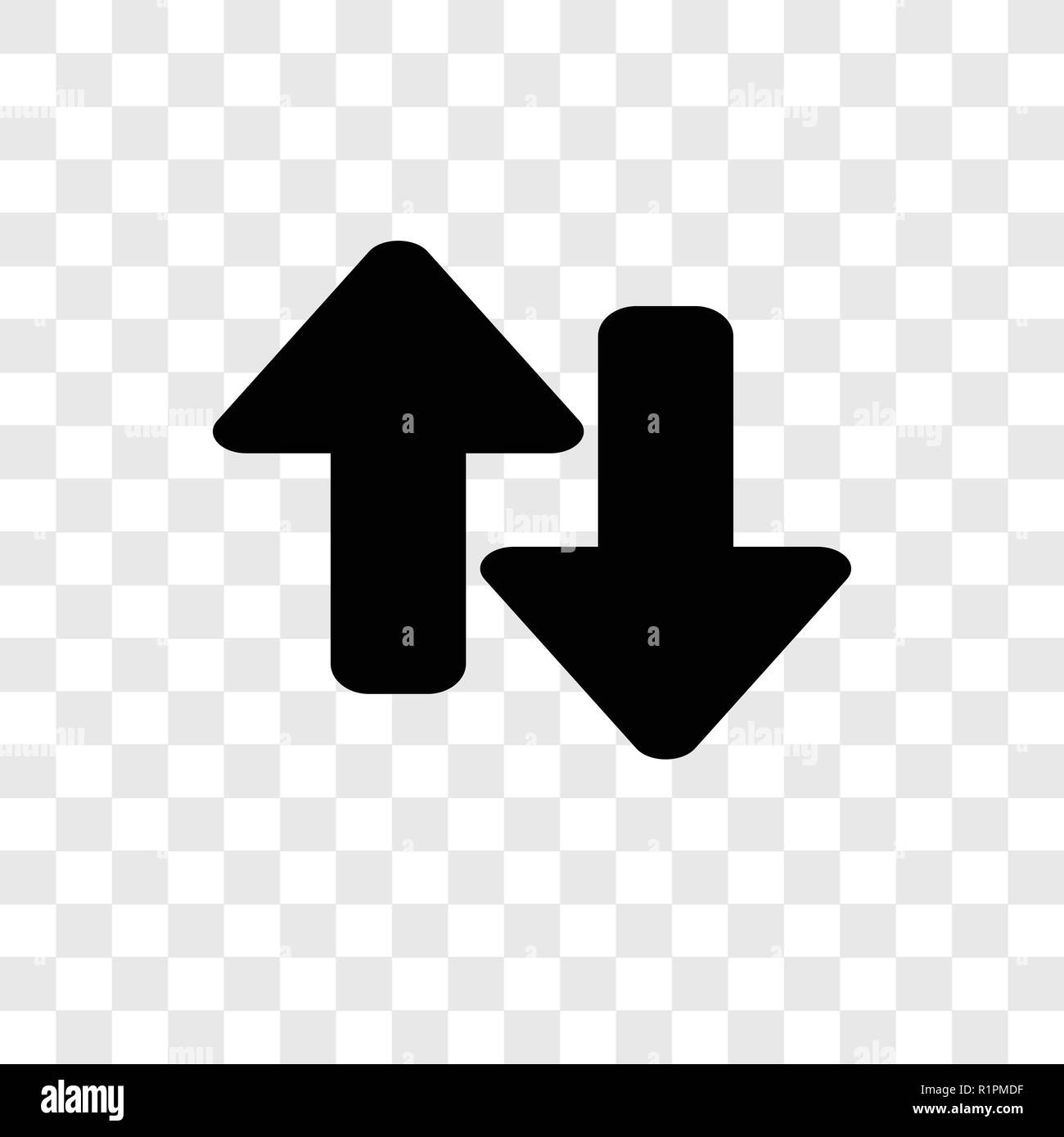 Up and Down Arrows vector icon isolated on transparent