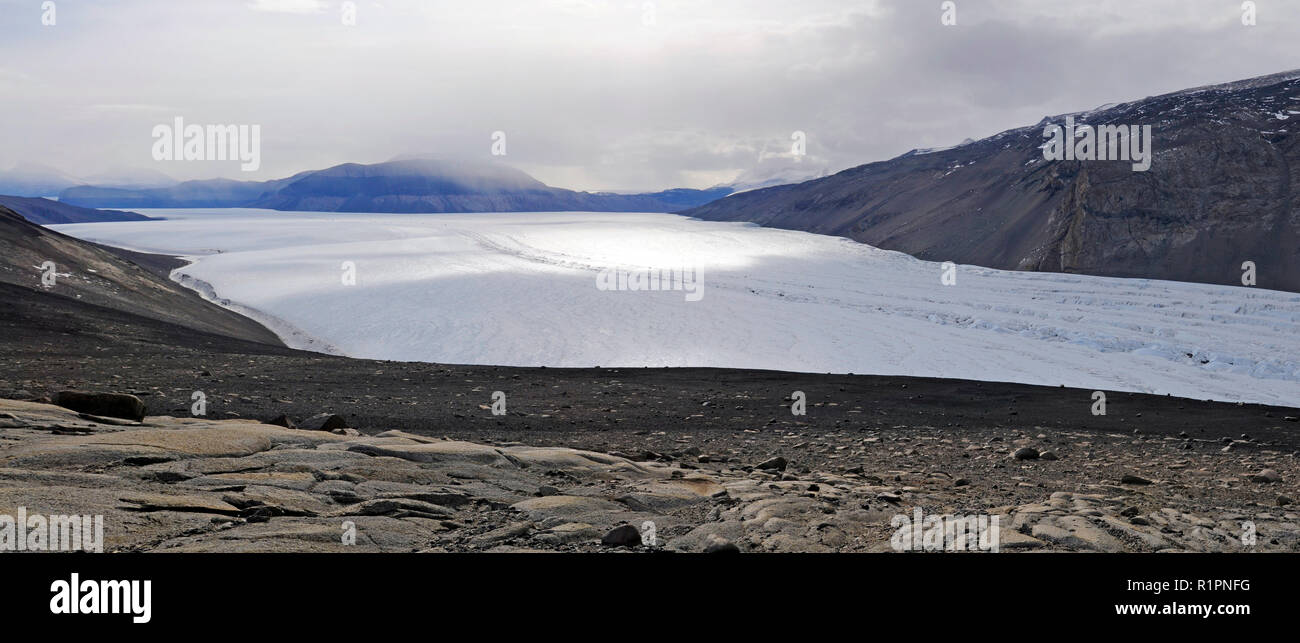 Panorama of Taylor Valley, McMurdo Dry Valleys, Antarctica showing the part of Taylor Glacier where a subglacial lake is the source of Blood Falls - Stock Image