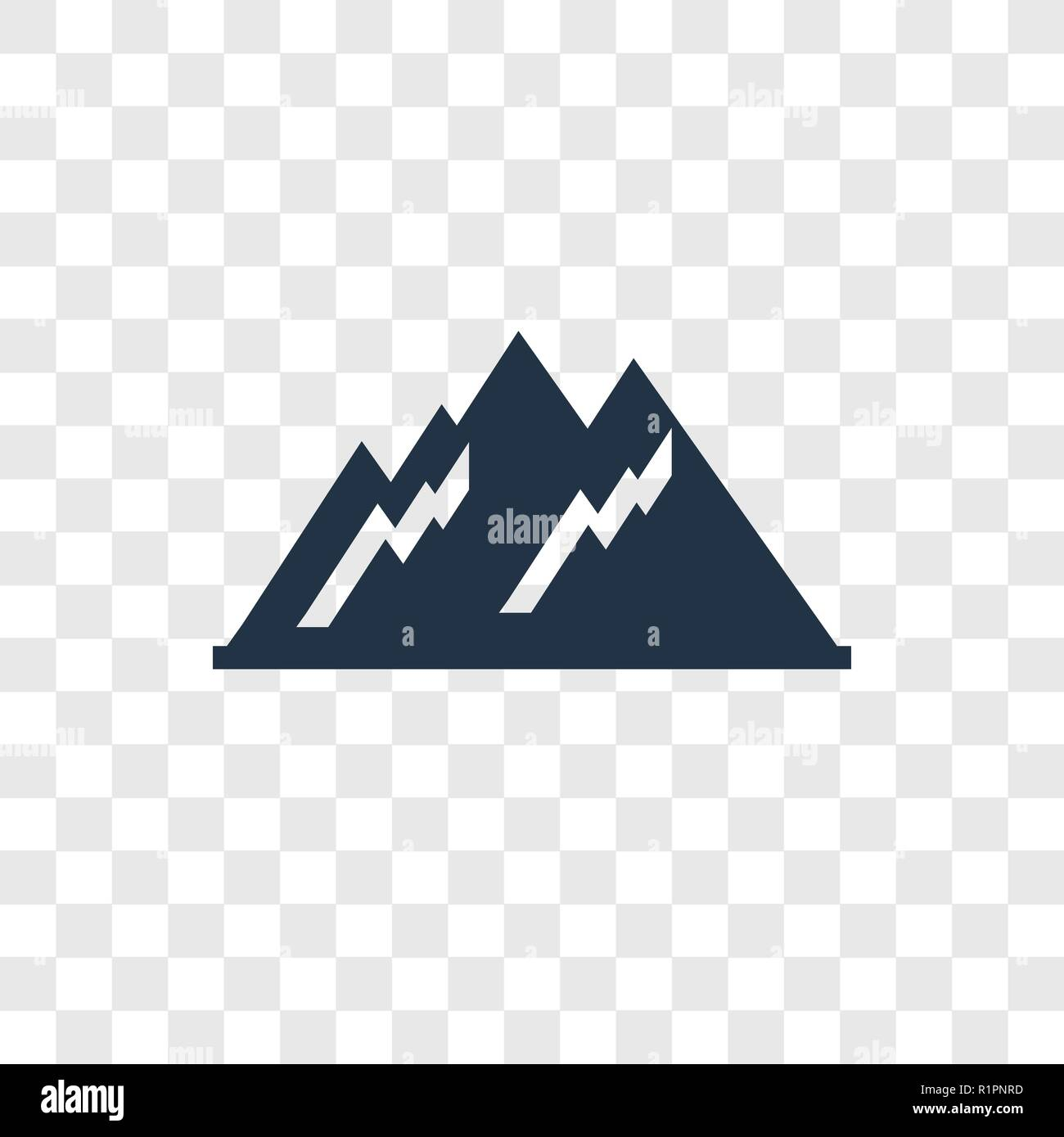 Mountain vector icon isolated on transparent background, Mountain transparency logo concept - Stock Vector