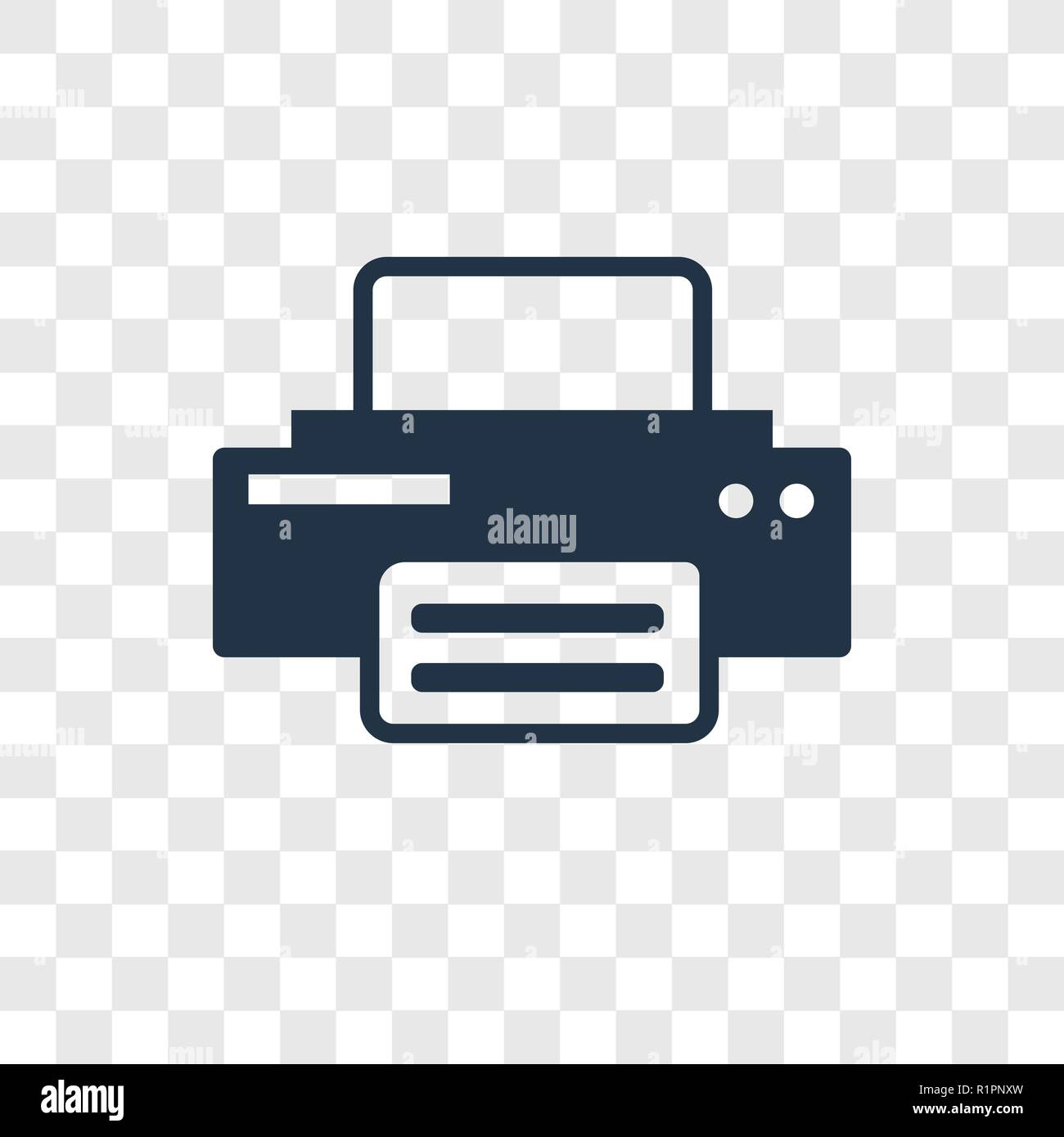 Printer Vector Icon Isolated On Transparent Background