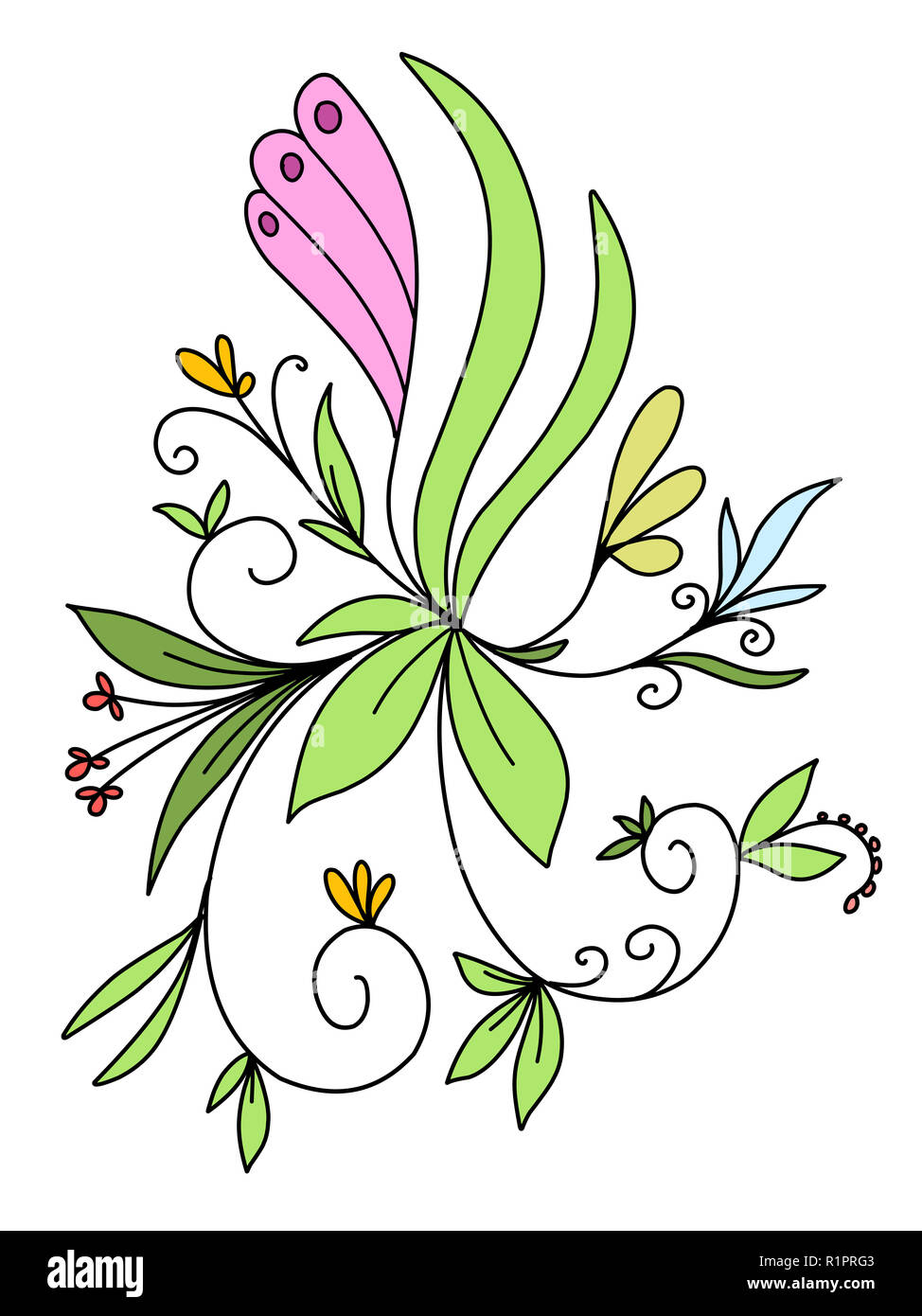 Stock Illustration Abstract Floral Pattern on a White Background - Stock Image