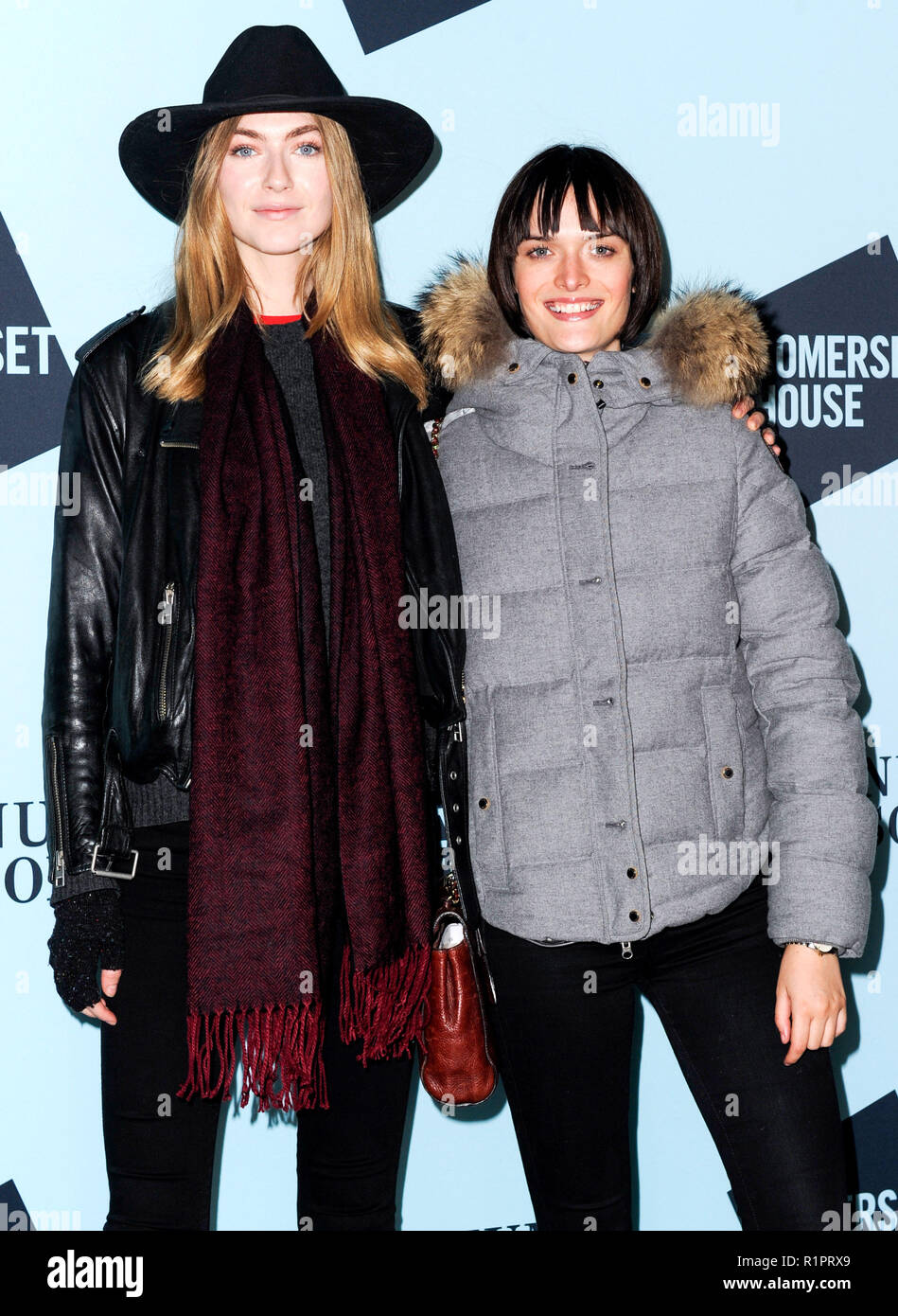 Photo Must Be Credited ©Alpha Press 080011 13/11/2018 Eve Delf and Sam Rollinson at the launch of Skate at Somerset House with Fortnum & Mason at Somerset House in London. - Stock Image