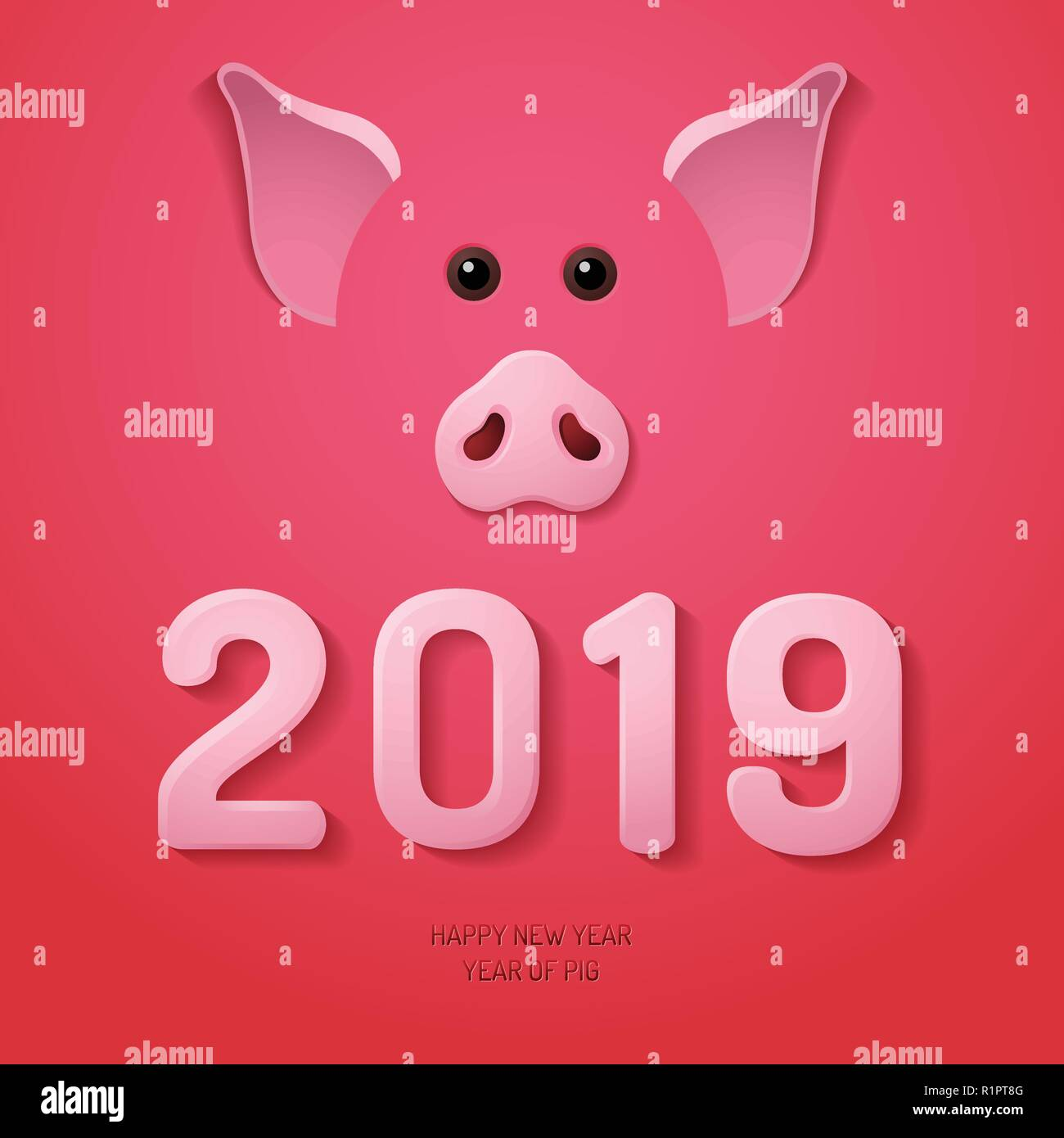 Chinese New Year 2019 Pig Snout - Stock Vector