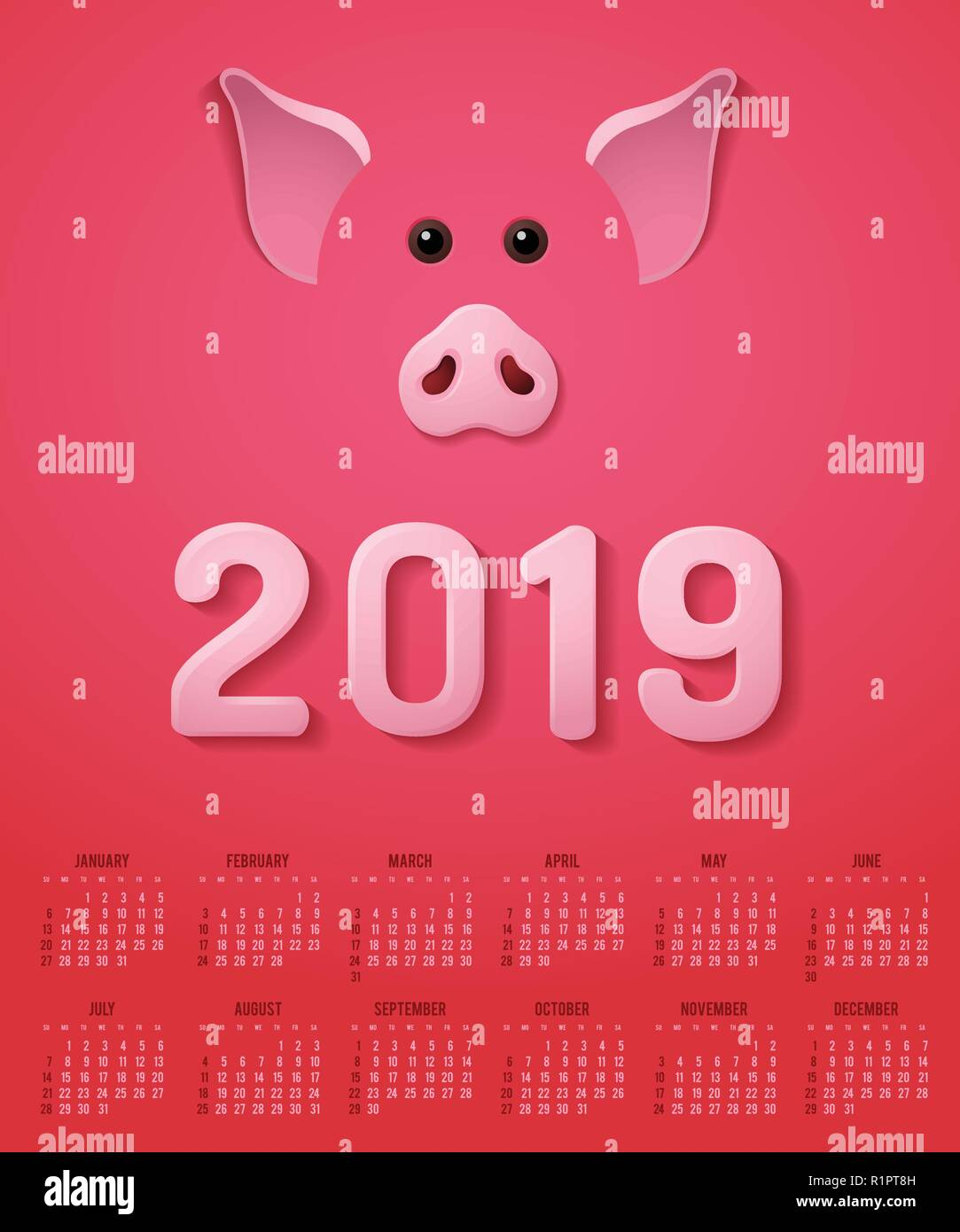 Chinese New Year 2019 Pig Calendar - Stock Vector