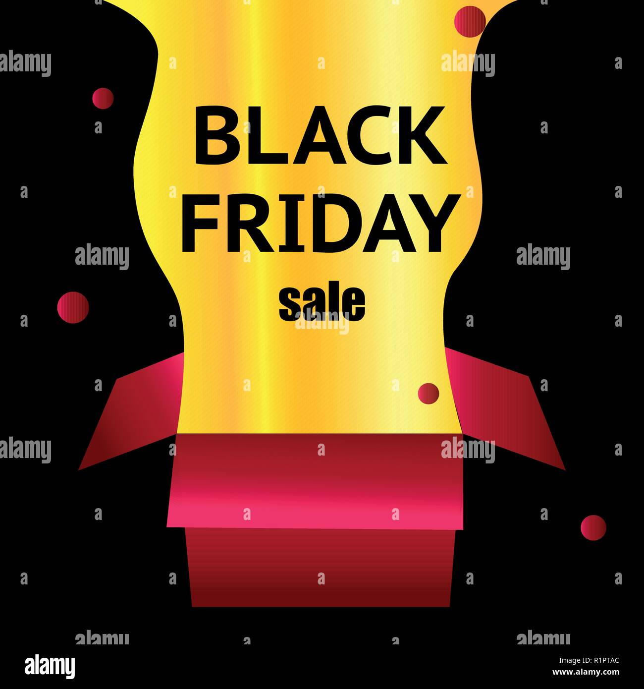 black Friday. Red box on a light black background. Flashing ornaments. Explosion of a gold box. black text on the box. Web illustration Stock Vector