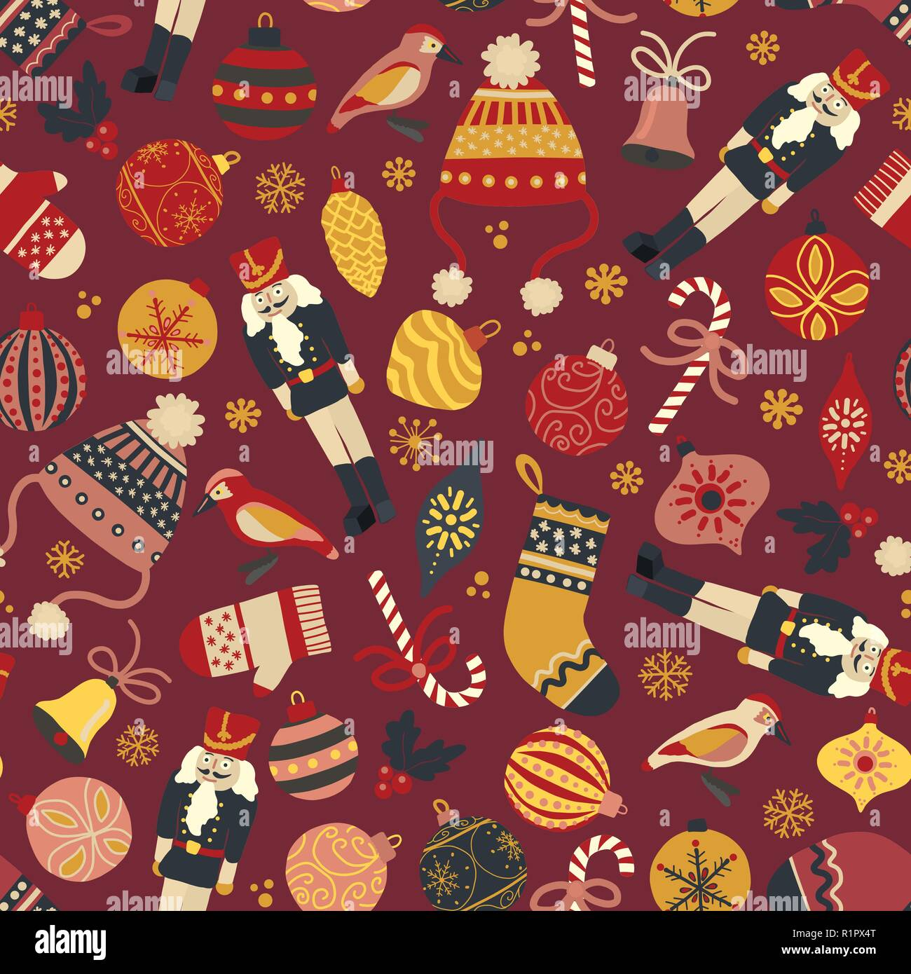vintage christmas seamless vector pattern background nutcracker hat mitten stocking candy cane bird ornaments repeating retro christmas design R1PX4T