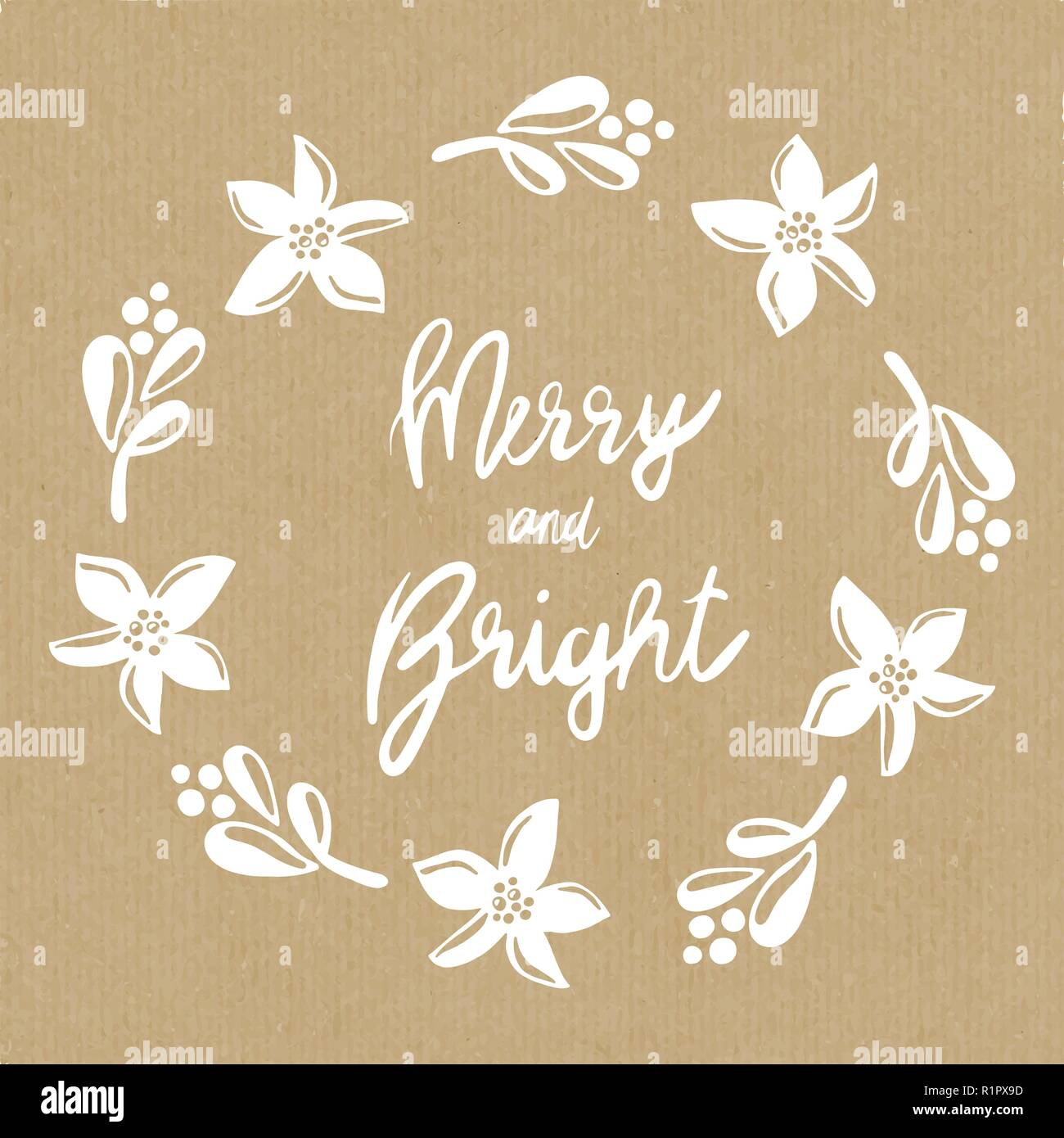 Merry And Bright Mistletoes Christmas Flower Wreath Vector