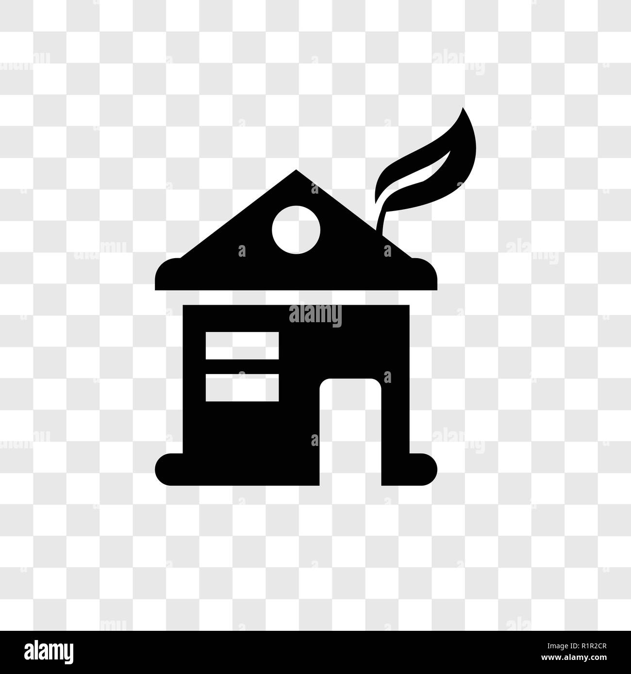 Eco house vector icon isolated on transparent background, Eco house transparency logo concept - Stock Image