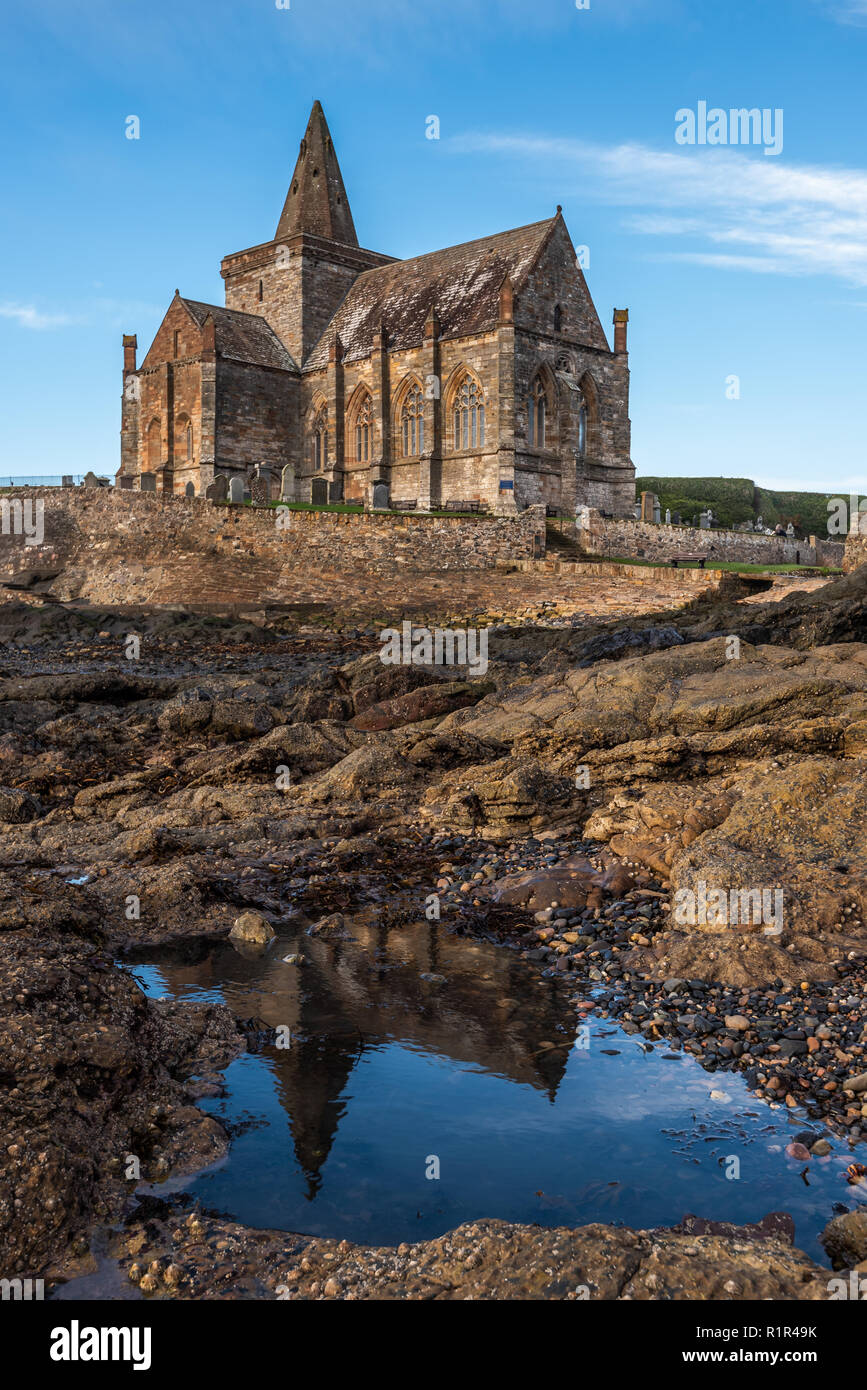 St Monans Church dates from medieval times and is situated in an isolated position on the very edge of the North Sea in the East Neuk of Fife, Scotlan - Stock Image