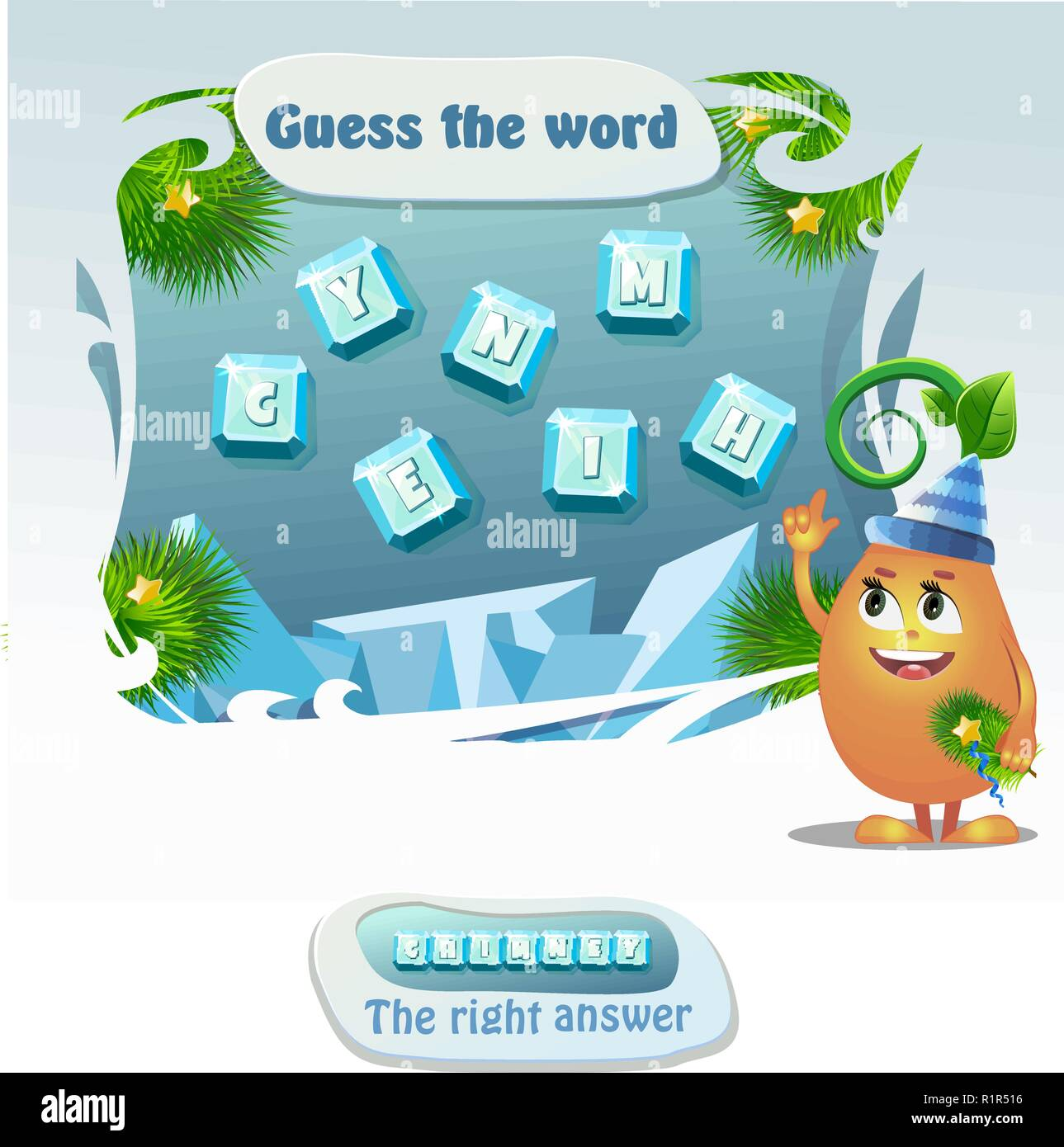 educational game for kids and adults development of logic, iq. Task game- guess the word. Right answer- chimney - Stock Vector