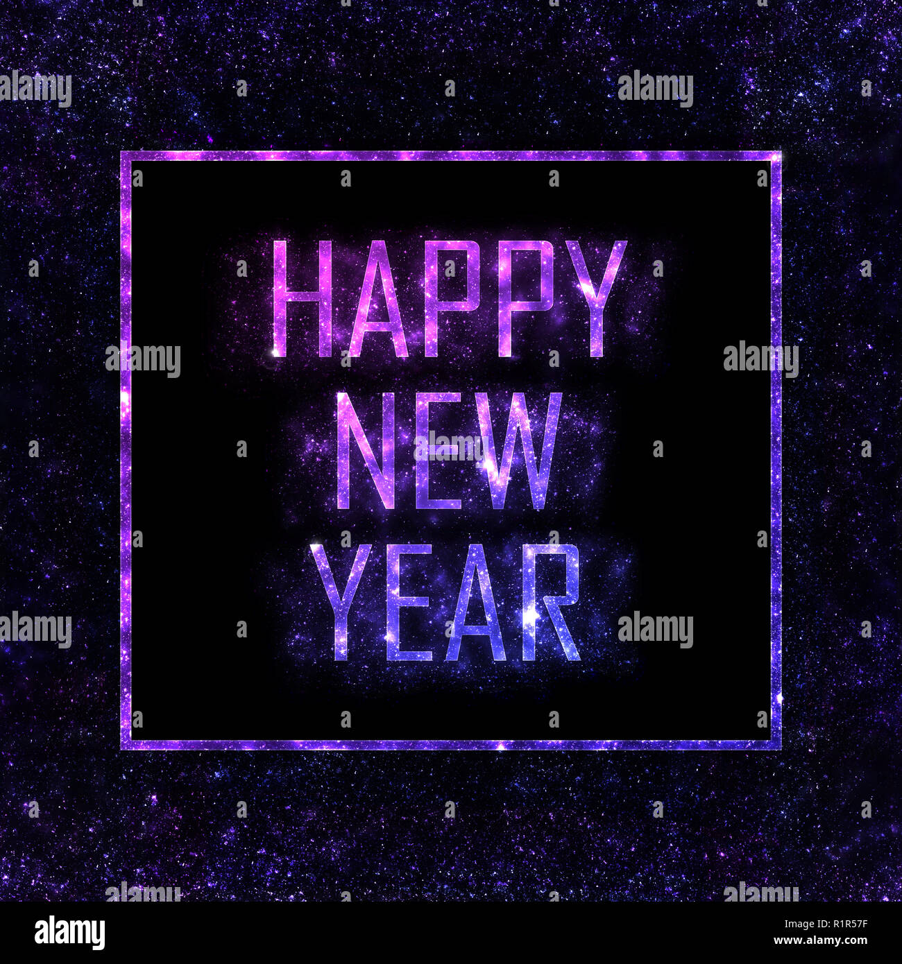 happy new year pink purple and blue letters with glitter stardust and frame