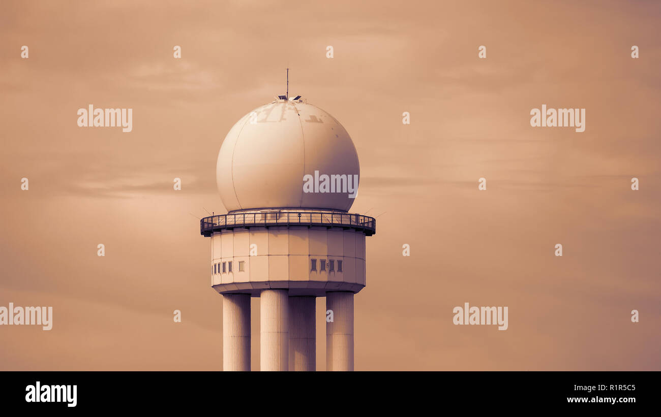 RRP 117 Radar Tower In Public City Park Tempelhofer Feld, Former Tempelhof Airport In Berlin, Germany - Stock Image