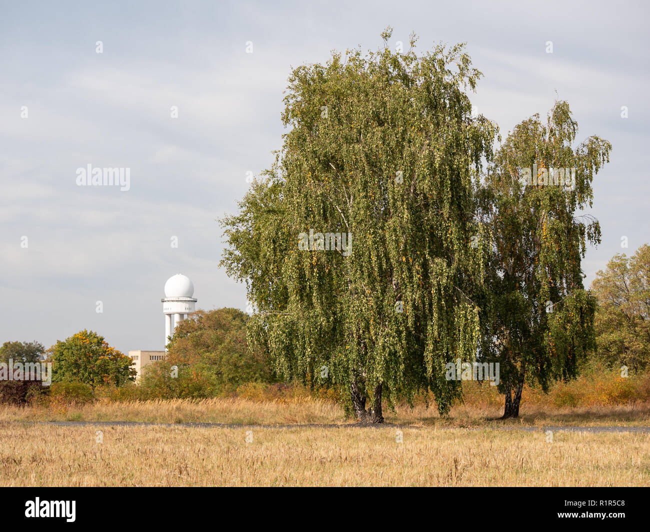 Trees And Former Radar Tower In Public City Park Tempelhofer Feld, Former Tempelhof Airport In Berlin, Germany - Stock Image
