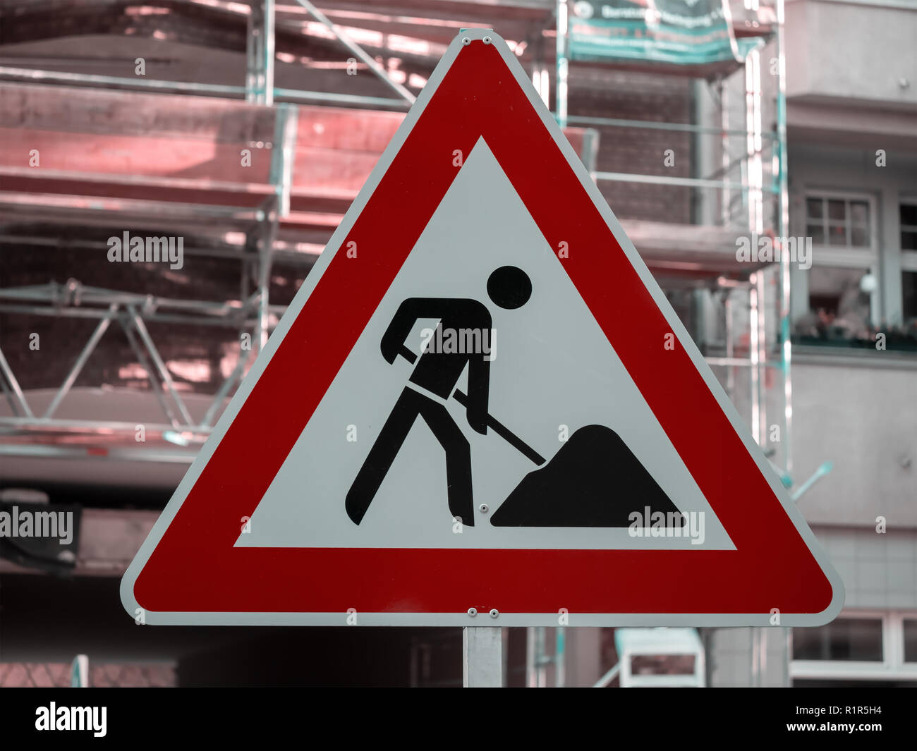 German Construction Work Street Sign In Berlin, Germany - Stock Image