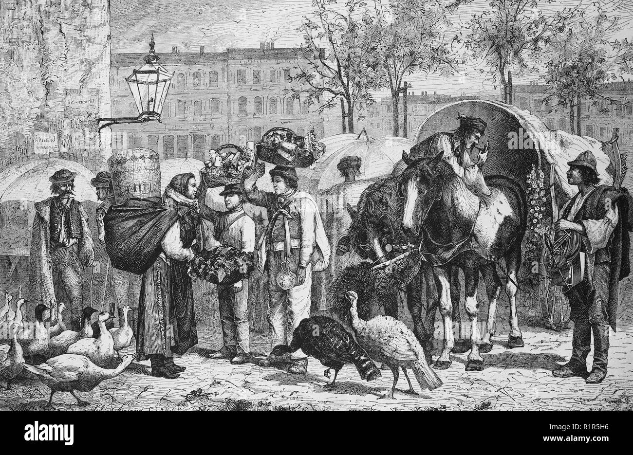 Digital improved reproduction, slavic and hungarian people at the Naschmarkt in Vienna, Austria, original print from the year 1880 - Stock Image