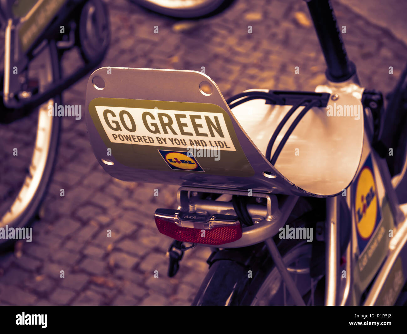 BERLIN, GERMANY - AUGUST 24, 2018: Public Bike Sharing Service Provider: Close-up of A Lidl Bike In Berlin, Germany - Stock Image