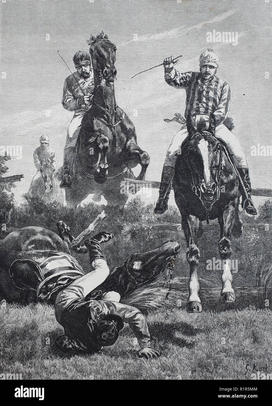Digital improved reproduction, an accident at military riding tournament, original print from the year 1880 - Stock Image