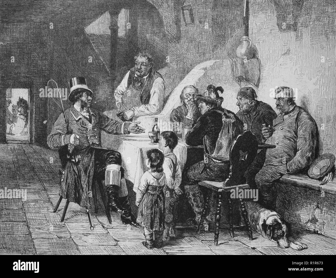 Digital improved reproduction, a dressed-up attire talks to the people in a restaurant, original print from the year 1880 - Stock Image