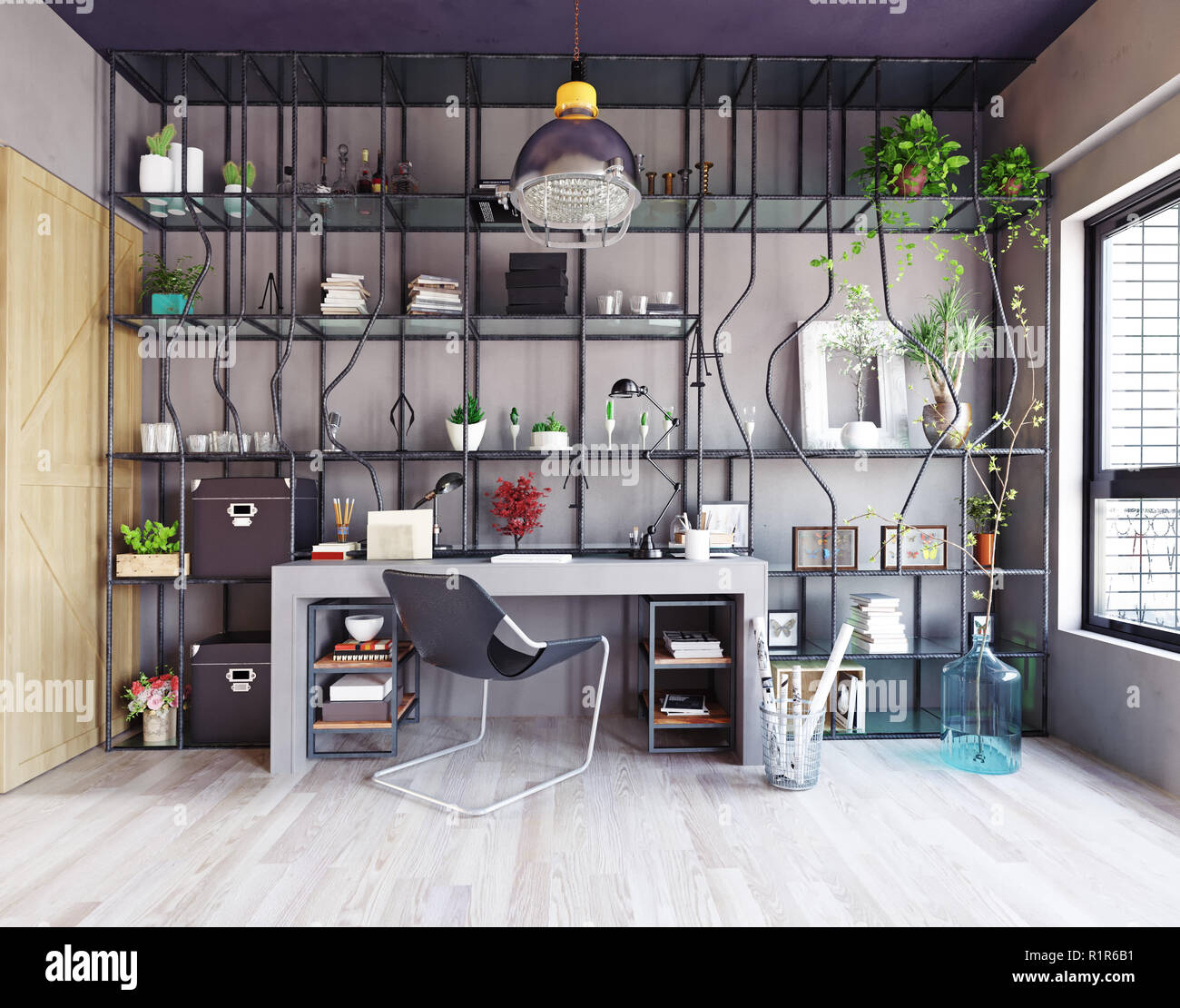 Creative Design Of The Home Office Interior. 3d Design Concept
