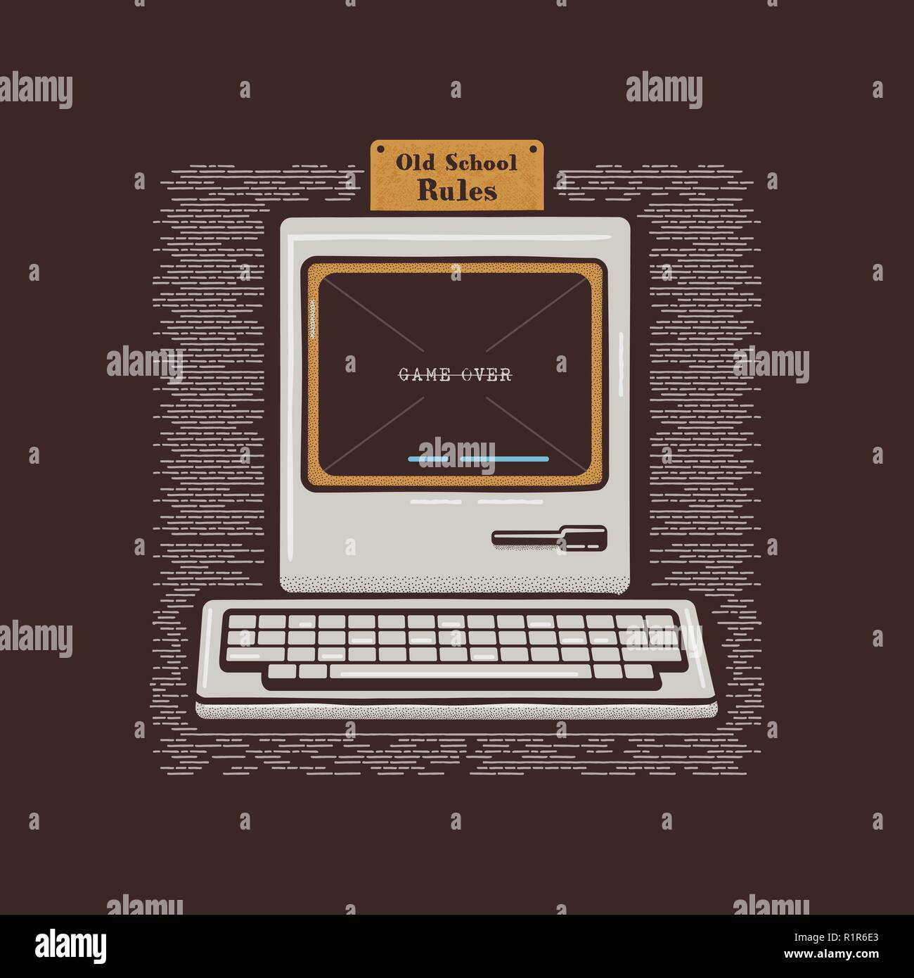 Old Personal Computer. Retro PC icon emblem with Old School Rules quote. Stock vector flat illustration isolated on dark background - Stock Image