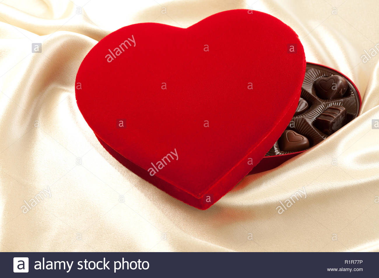 Luxurious Satin Red Velvet Heart Shaped Candy Box Filled With