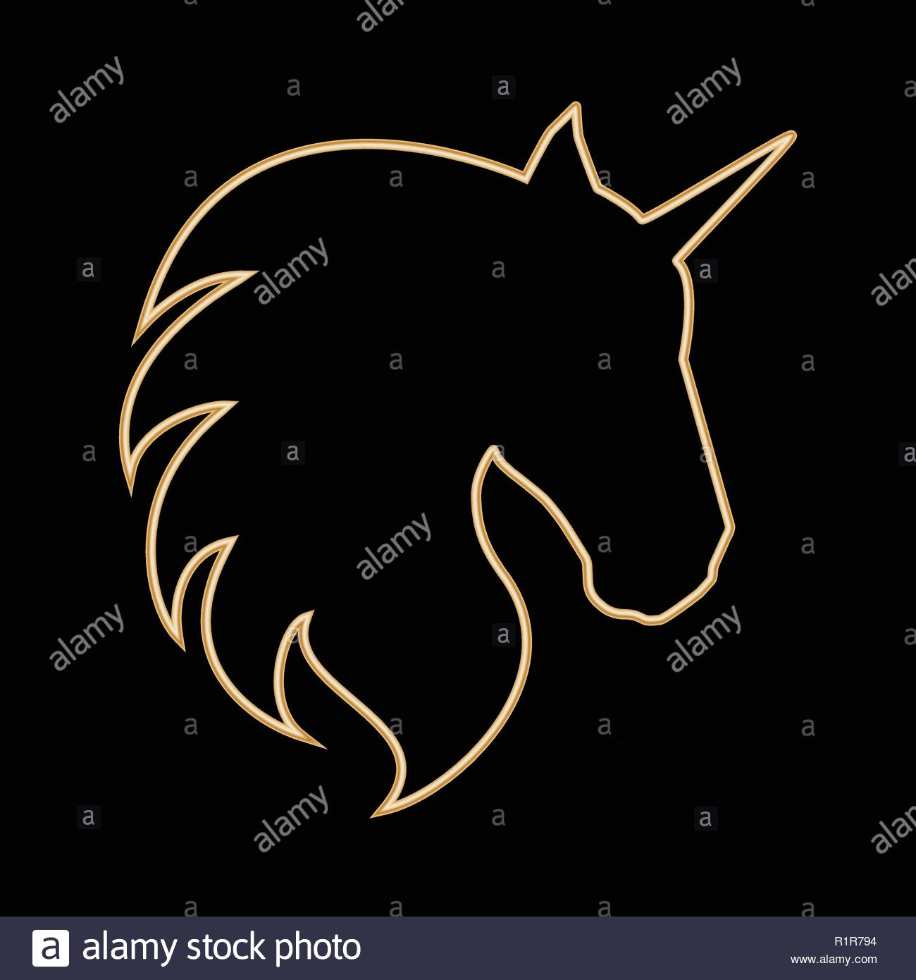 Gold outline of a unicorn head with transparent centre. Isolated on black background. - Stock Image