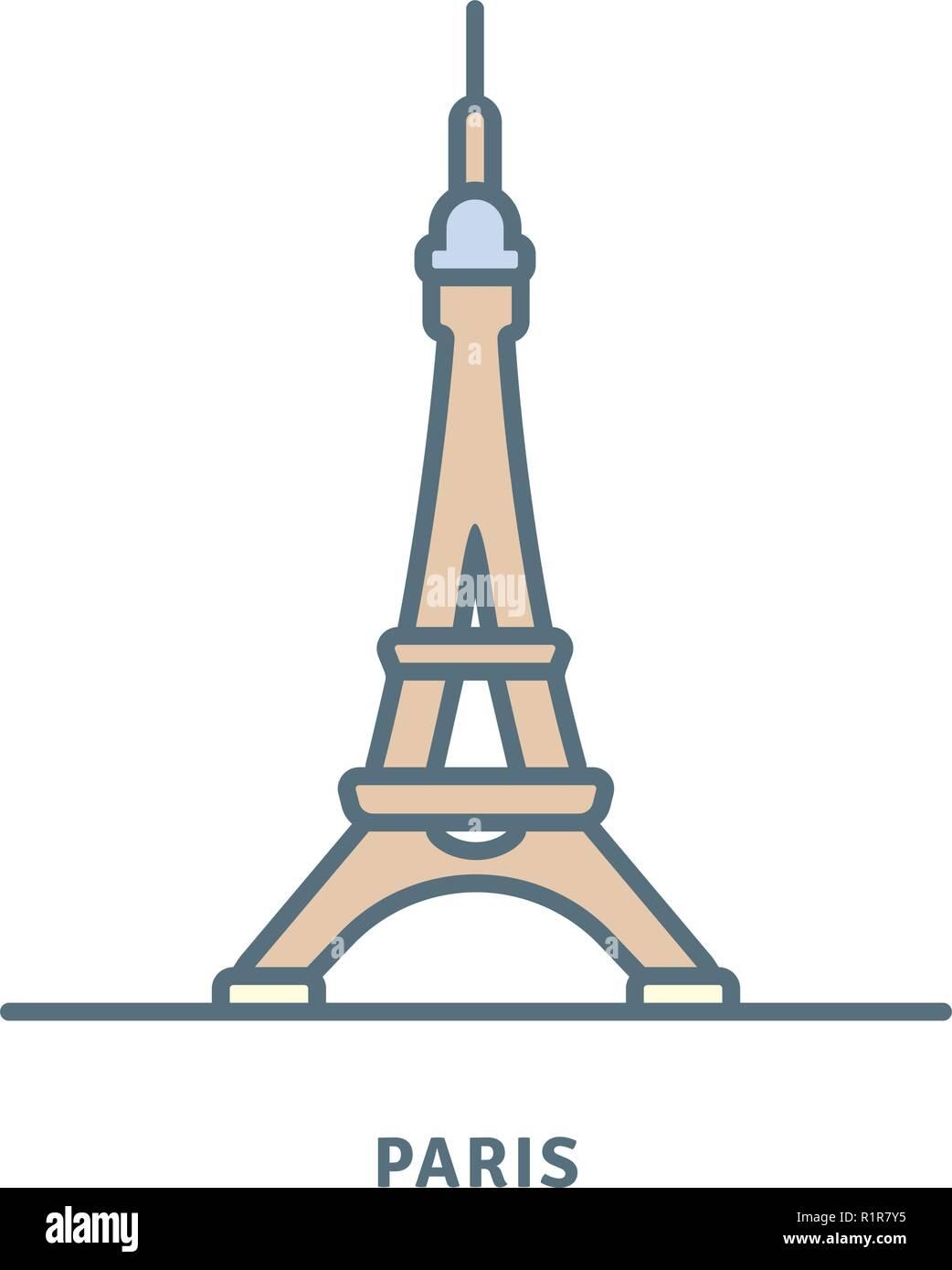Paris line icon. Eiffel Tower vector illustration. - Stock Vector
