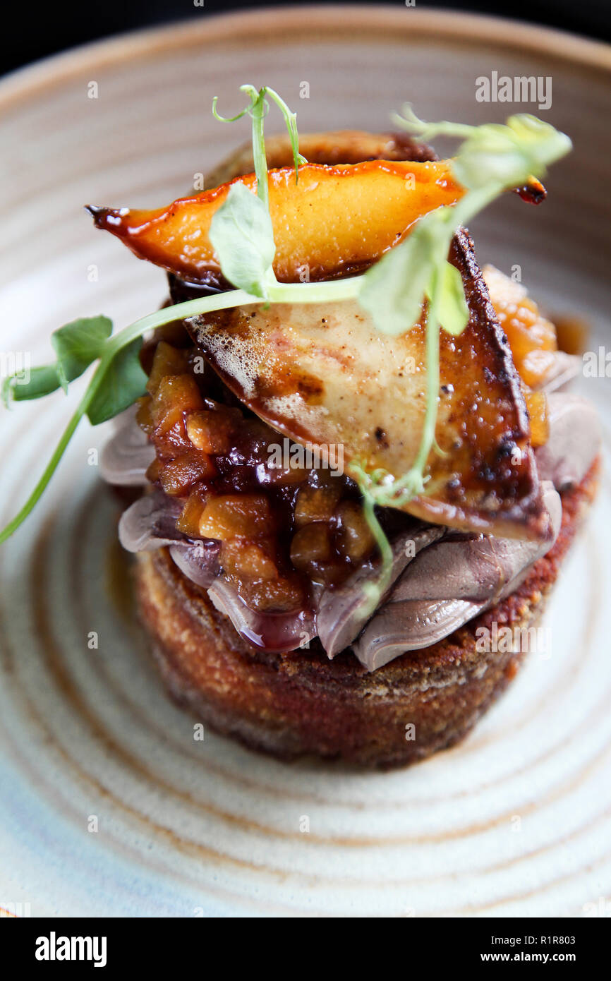 Esthetic French foie gras with apple and pear chutney on the toast in minimalistic style - Stock Image
