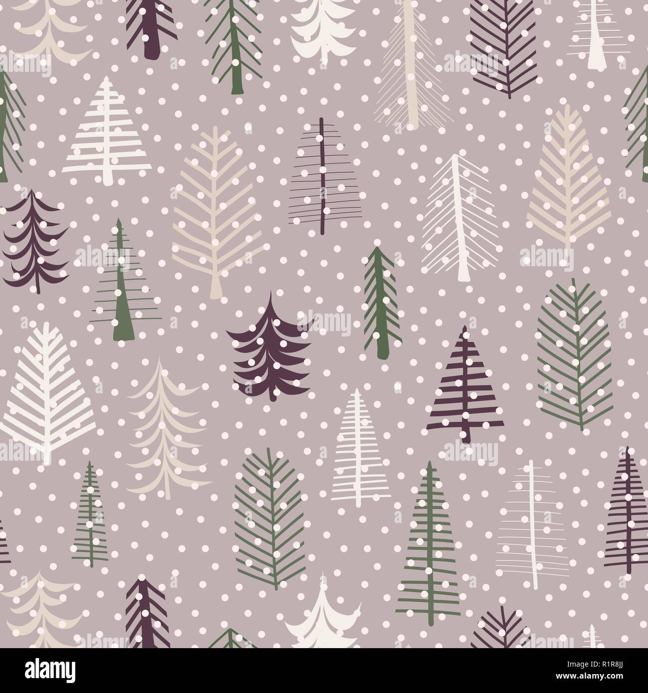 Seamless Pattern Christmas Trees Pattern Repeat Tile Purple